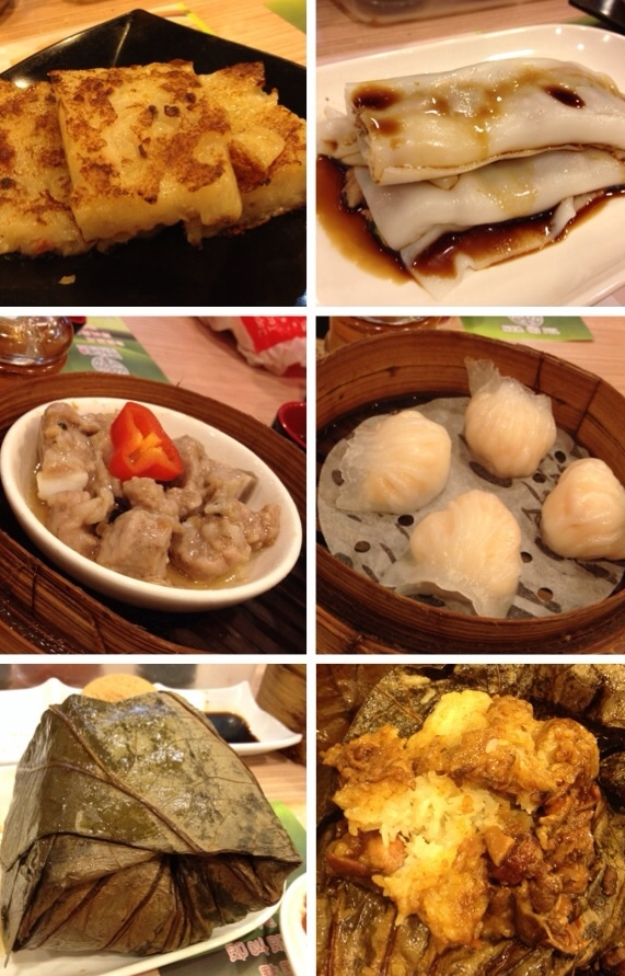 Turnip cakes, Beef or Prawn Cheung Fun (rice noodle wrap), Black Bean Sauce Spare-ribs, Har-Gaw (prawn dumplings), Chicken Sticky Rice.  The best and most cheap dim-sum ever. I am usually too full to order sticky rice, but this one is always worth it no matter how full you are!