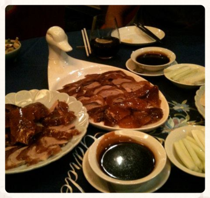 One order of Peking duck. Come with a huge plate and a half of meat! Great soft and tender duck with a nice and crispy skin.Make sure to ask for refills on the hoisin sauce, cucumbers and scallions.