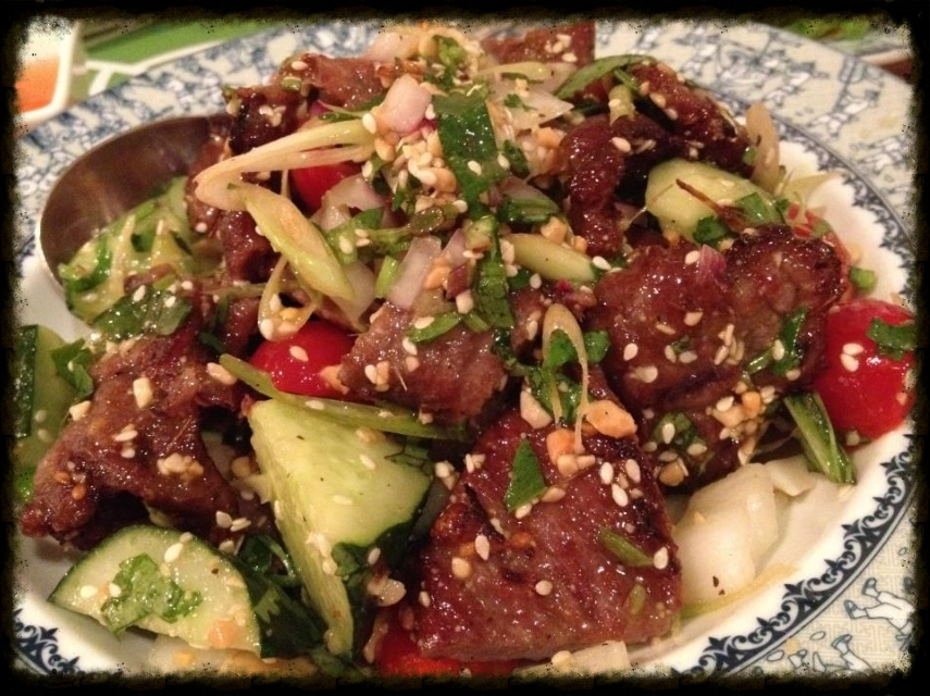 Spicy Beef Salad - the meat sort of tastes like Korean BBQ! But the sauce, texture and flavours of everything in this salad just works so well together!   This is one of my favs!