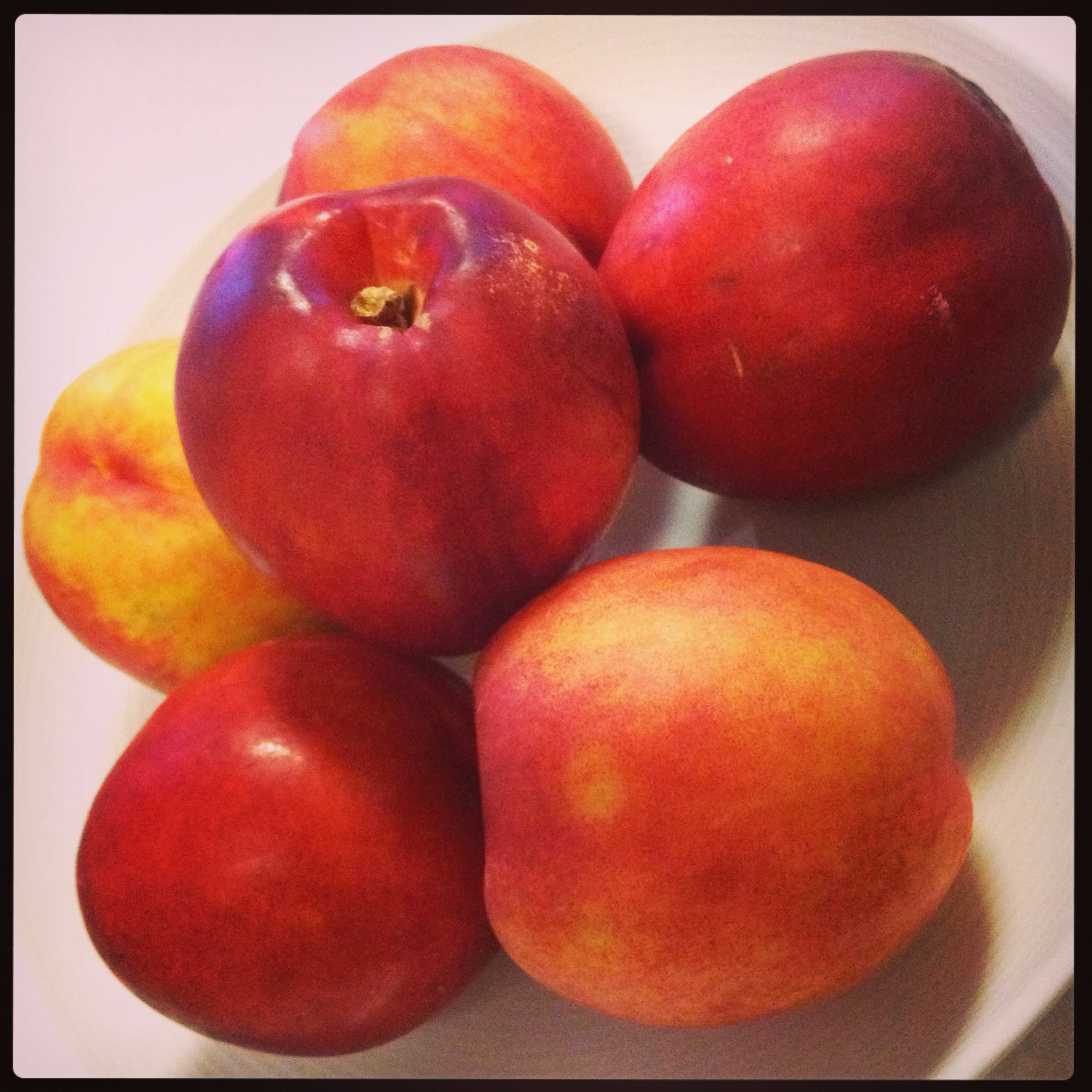 The hairless and smaller version of our peach, the nectarine. They can be smaller or bigger, and depending on the size, they can even look like mini apples! I only like nectarines when they are soft and ripe. Some people prefer them when they are crunchy and less ripe.