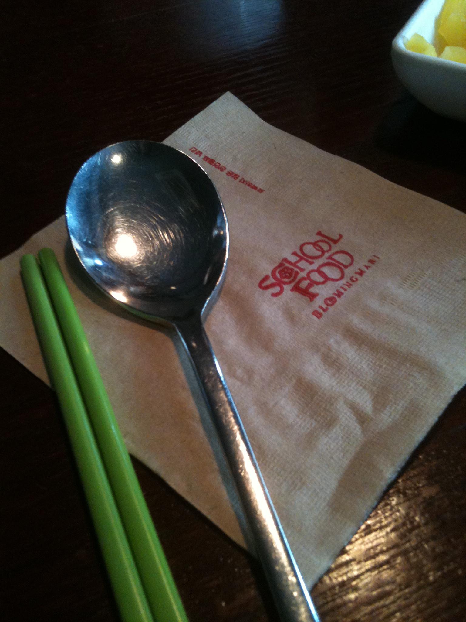 The trademark green chopsticks of School Food.