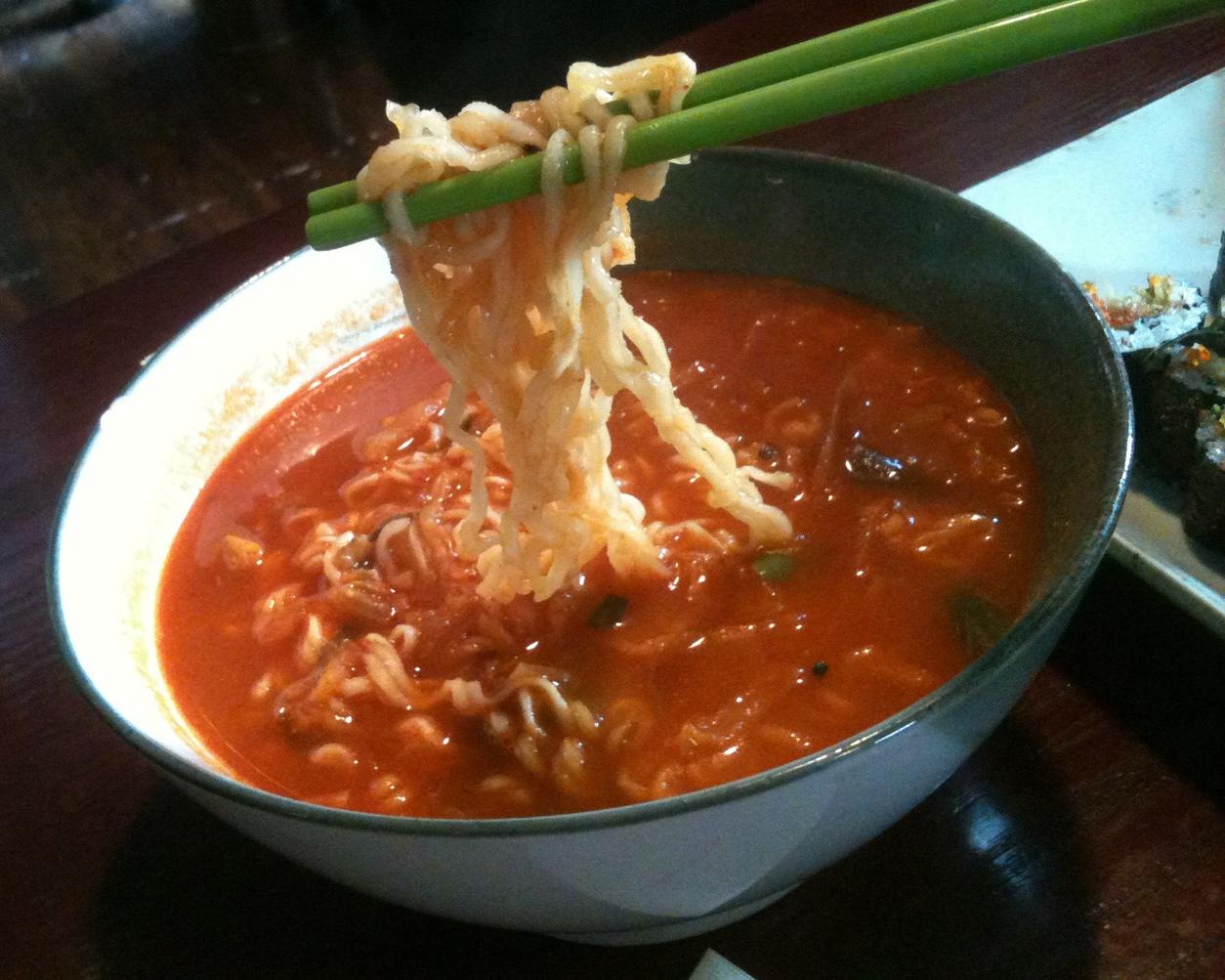 찌개라면 - JIGGAE RAMEN  Ramen but in the broth of Dwenjang Jiggae! Love the twists they have on regular dishes to make them exciting again.