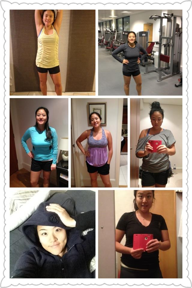 Week 5...CHECK!!! Happy New Year everyone~ Location: Brother's apartment in London, England and back to my apartment in Hong Kong.     To keep myself accountable, I'm going to take a picture of each workout (even on the 1 rest day), while representing pieces of my favourite-fit-and-function  al lululemon collection!        Travel/holiday eats and calorie intake have probably set me back at least a couple weeks worth of exercising...  This coming week/month, our church is doing a corporate fast - so I'll be eating much more healthy while doing the Daniel fast. Through prayer and healthy living, I hope I can clear my mind that's full of way too much stress!