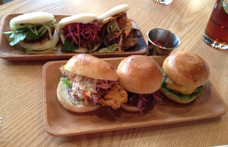 An array of all 3 BAO BUNS and all 3 MINI ME burgers!