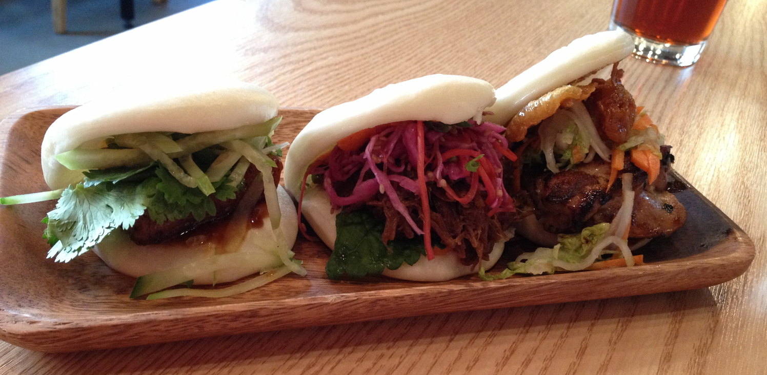 Each of the BAO BUNS. Bao means dumpling in Chinese, so these are renditions of a Chinese steamed dumpling bun peels filled to make little bun sandwiches. There are 3 kinds: Little Piggy, Kalbi Jjim and Chicken.
