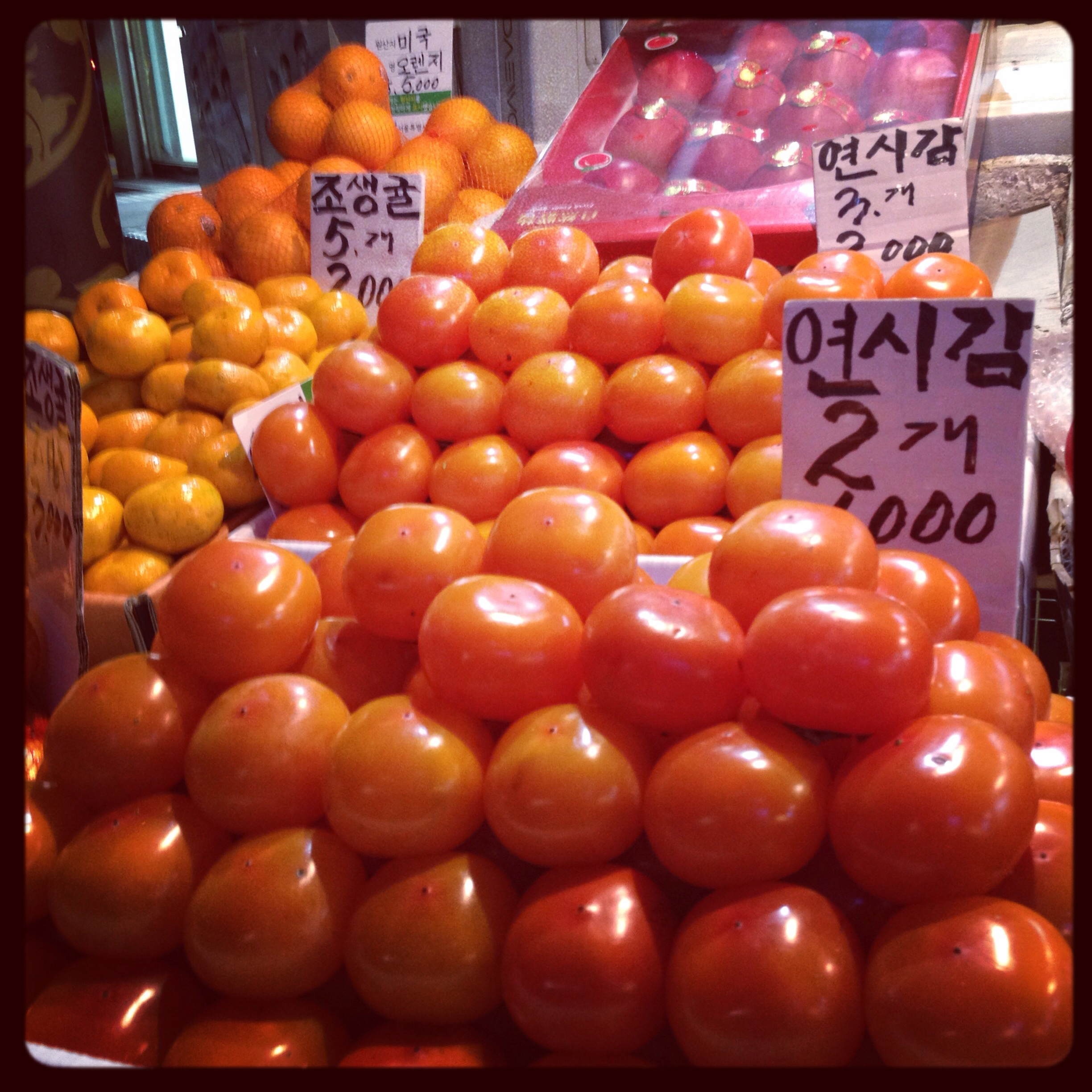 Persimmons for sale on the street fruit carts.