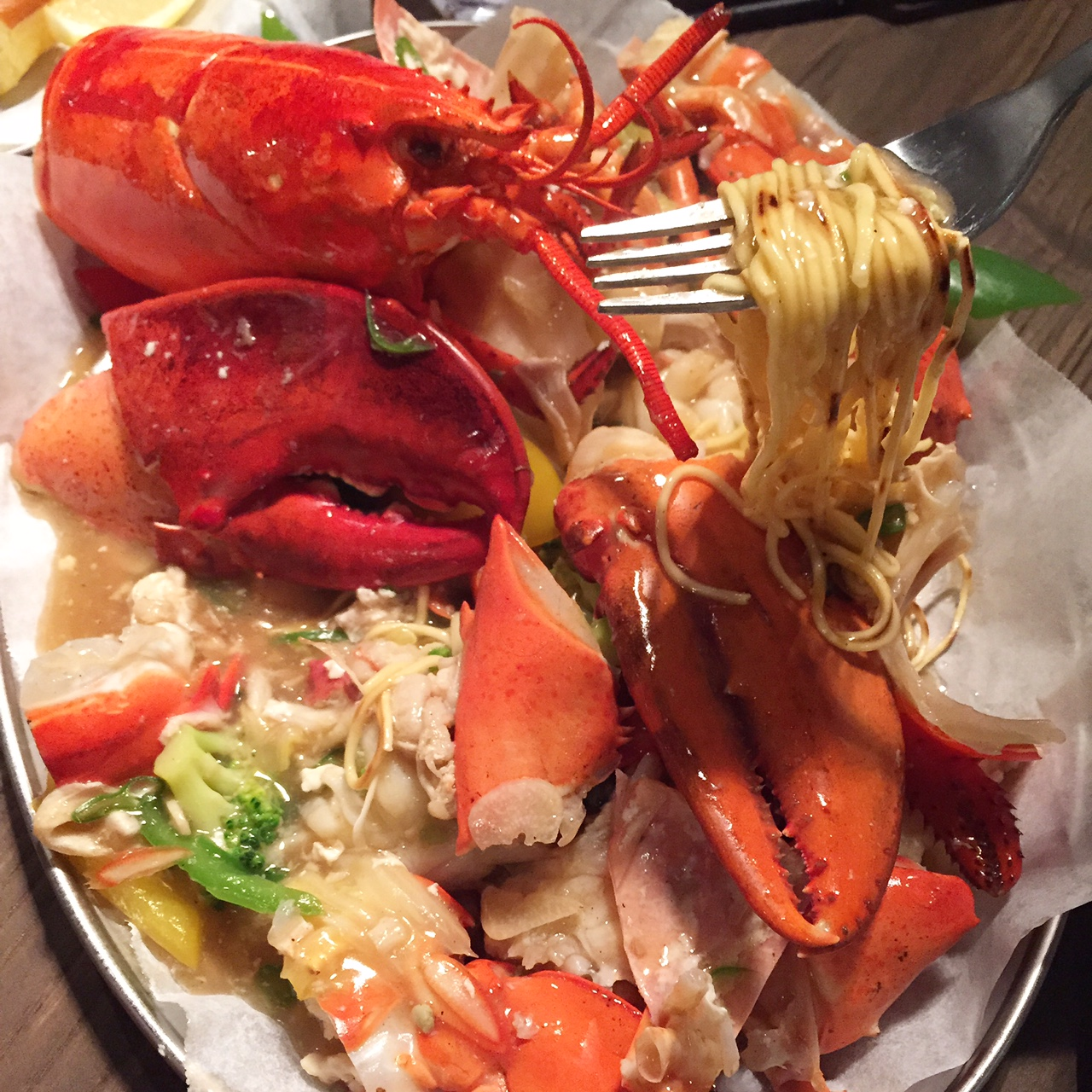The noodles were so delicious in the sauce and more noodles kept appearing as we made our way through the lobster. There were some pieces of lobster already taken out of the shell amongst the noodles and vegetables - 4 of us shared this (along with 3 sandwiches and a soup) -  we definitely all had our fill of lobster!