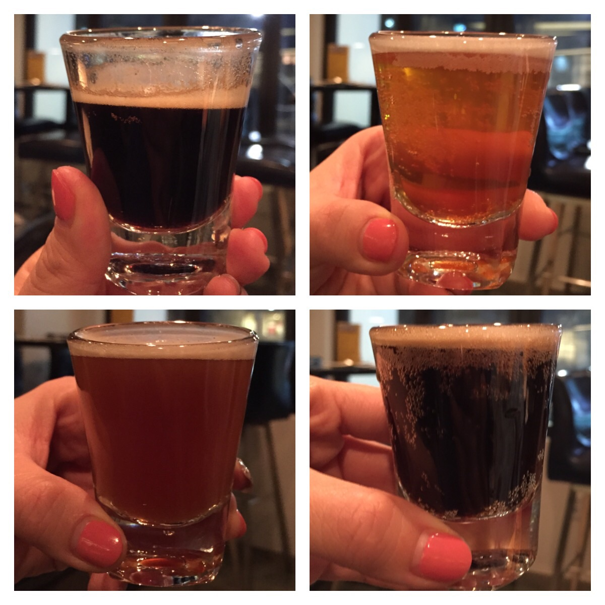 """We tastedall of them, but the ones that stood out to me were the COFFEE AND VANILLA STOUT (top left) - """"Light bodied for easy drinking using Columbia coffee whole beans and whole vanilla beans"""". If you like vanilla coffee in the AM, this is the beer for you in the PM! So creamy and smooth - it literally tastes like a nice dark coffee with sweet vanilla tones!"""