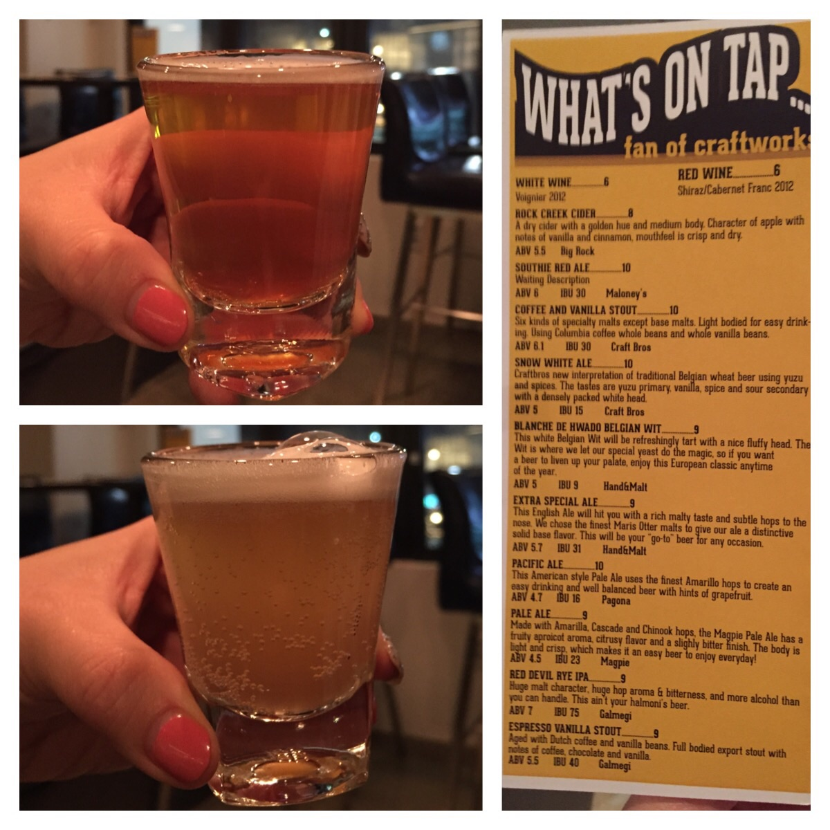 """and the SNOW WHITE ALE (top second to the left). - """"Tastes of """"yuzu primary, vanilla, spice and sour secondary with a densely packed white head.""""     I liked this one the best, so ordered a regular size of it. It tasted sort of citrusy like a Hoegaarden."""