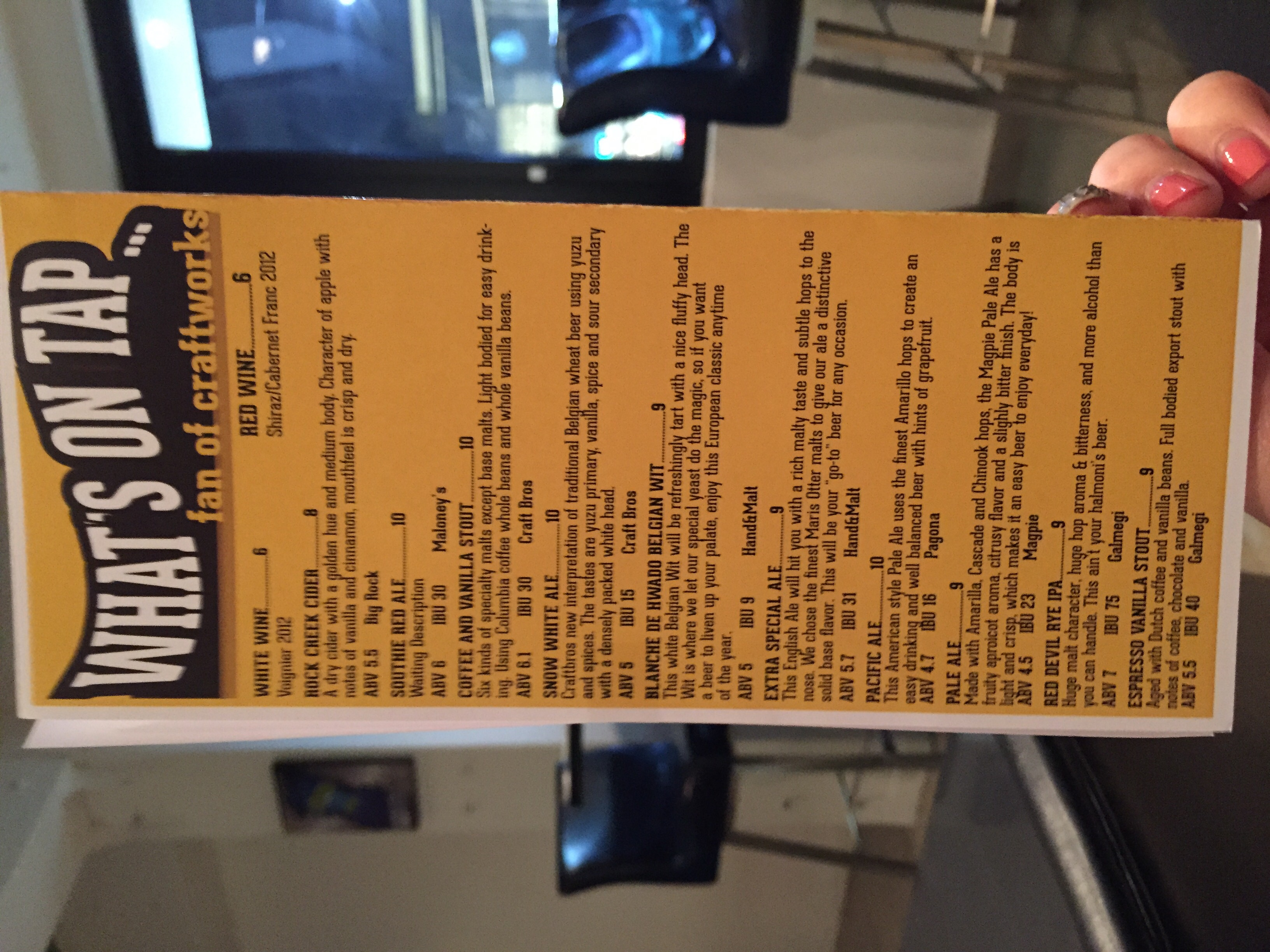 A close up of WHAT'S ON TAP andthe GUEST BREW BEERS!