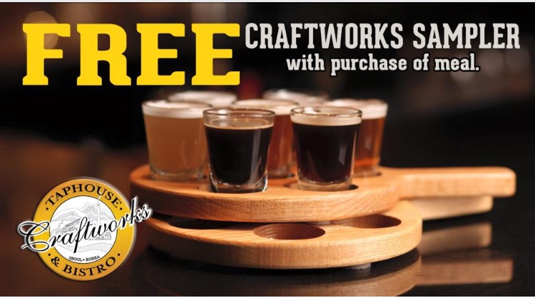 *MARCH SPECIAL* G  et a FREE BEER PADDLE SAMPLER with the purchase of any main meal entree! See below for somemain meal items.