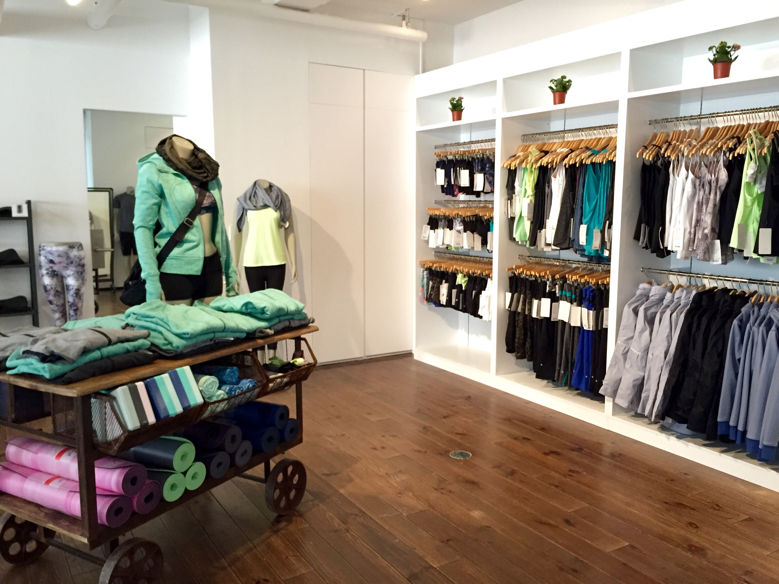 The layout as you come in. On your right side, you'll find your selection of shorts, tanks and light spring jackets.