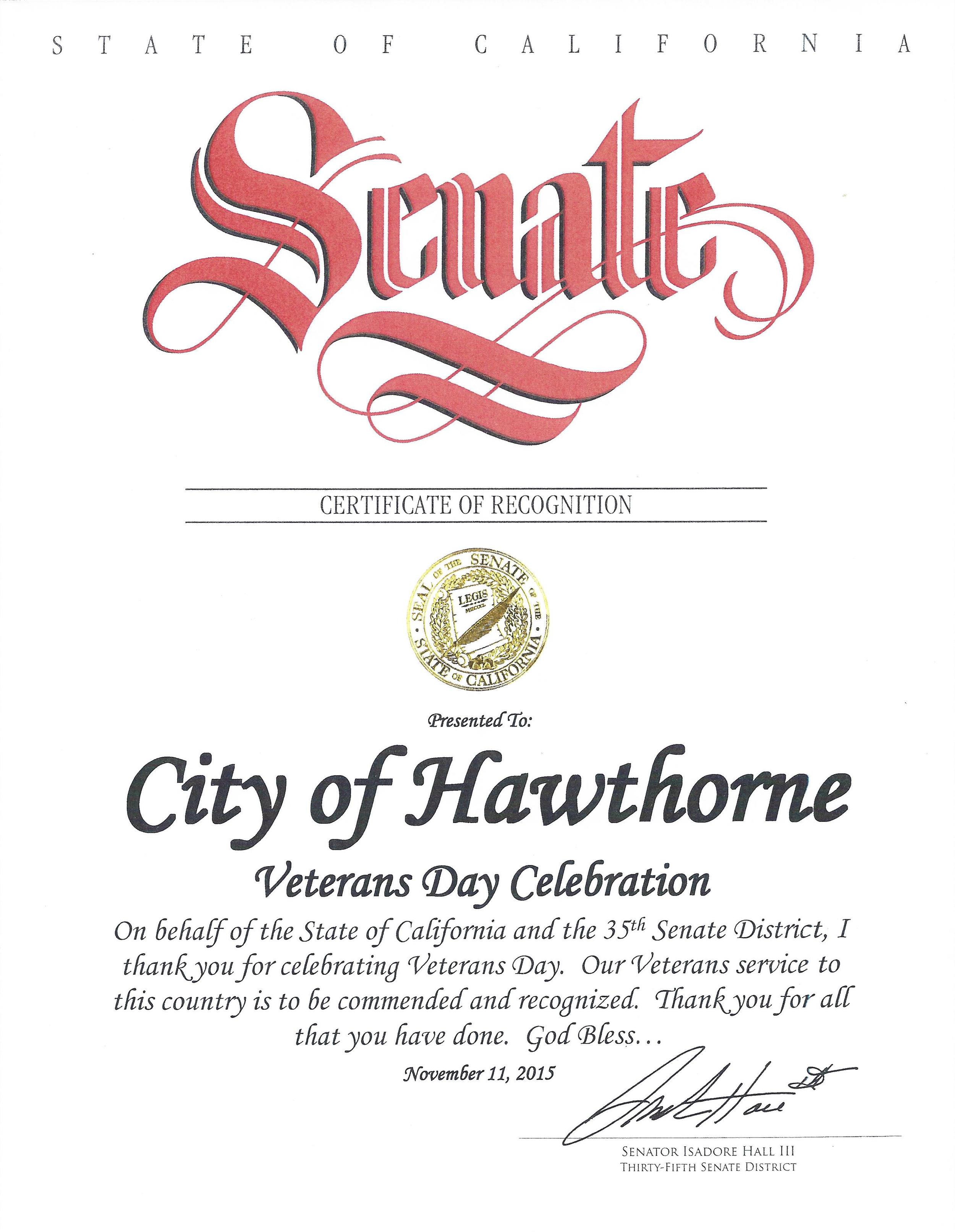Certificate of Recognition Veteran's Day Celebration 2015