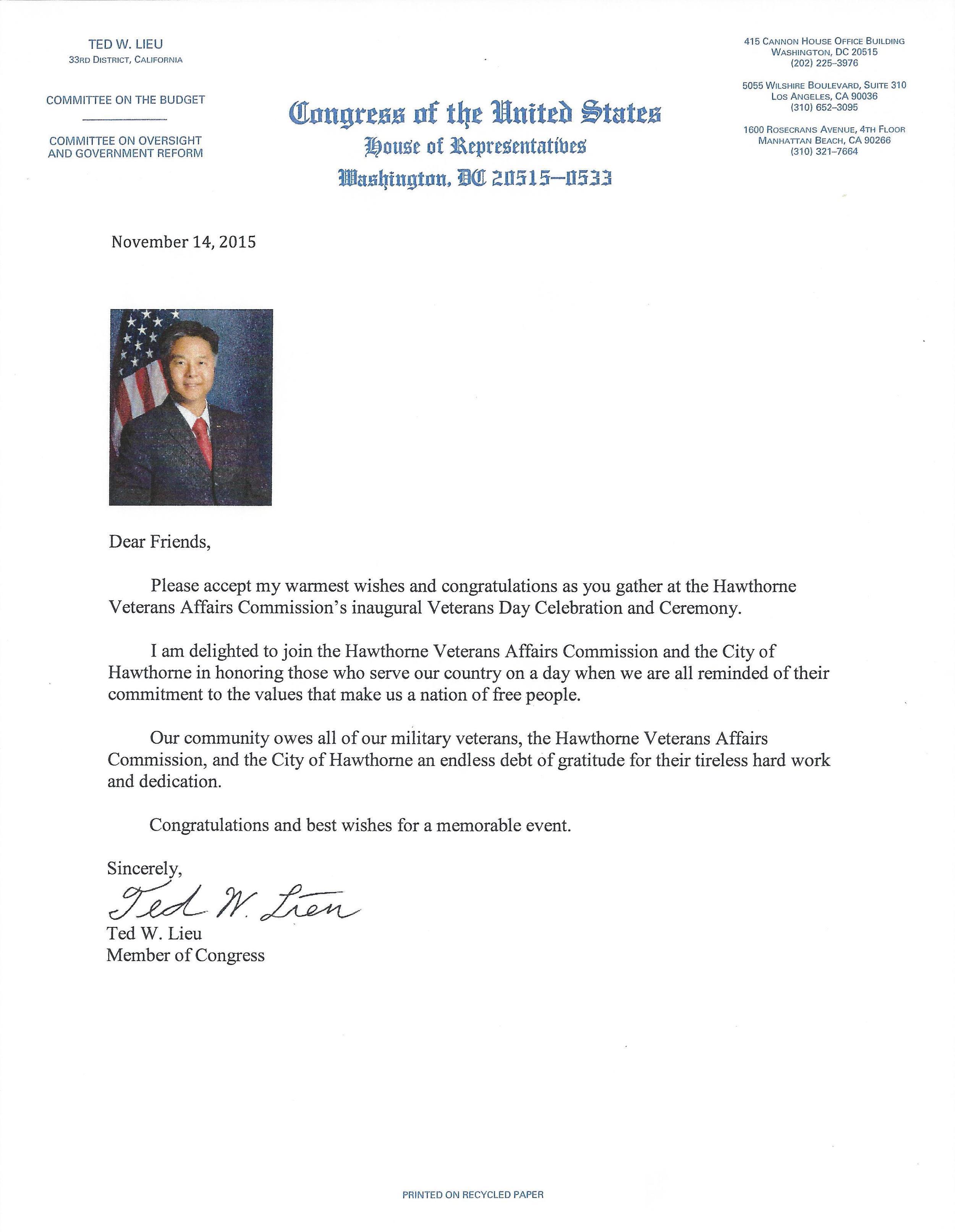 Congressman Ted Lieu letter