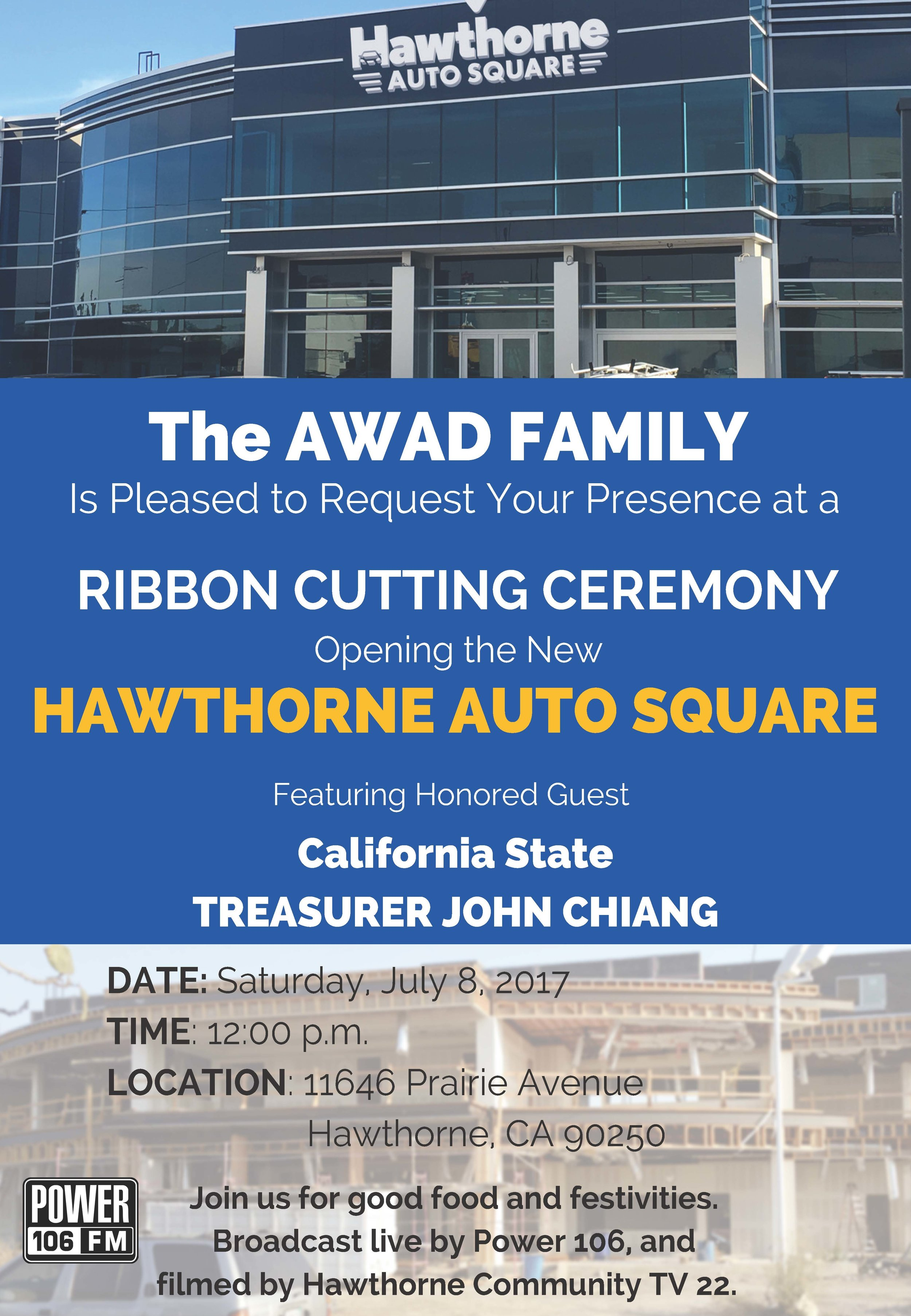 Hawthorne Auto Square Ribbon Cutting