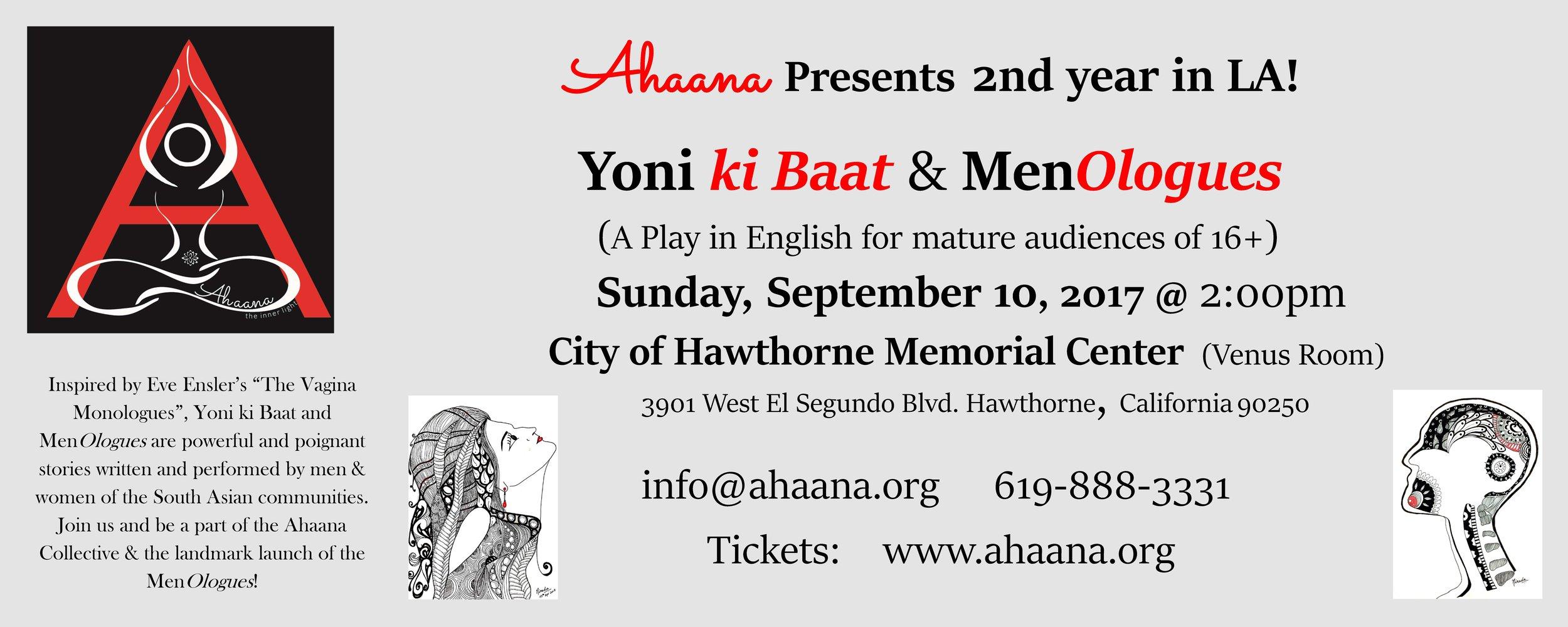 Ahaana Presents Yoni ki Baat & MenOlogues - page 1