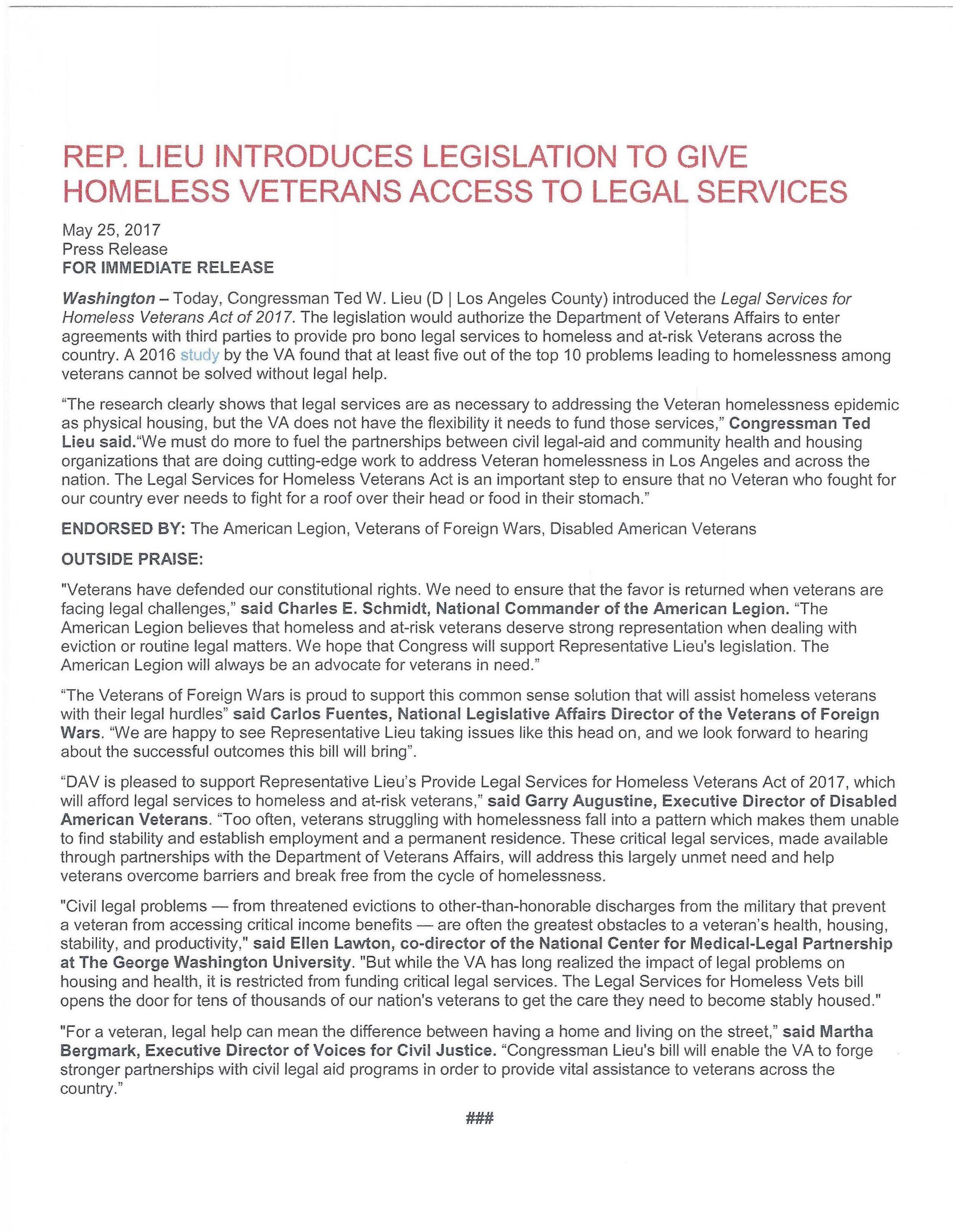 Legislation to give Homeless Veterans Access to Legal Services