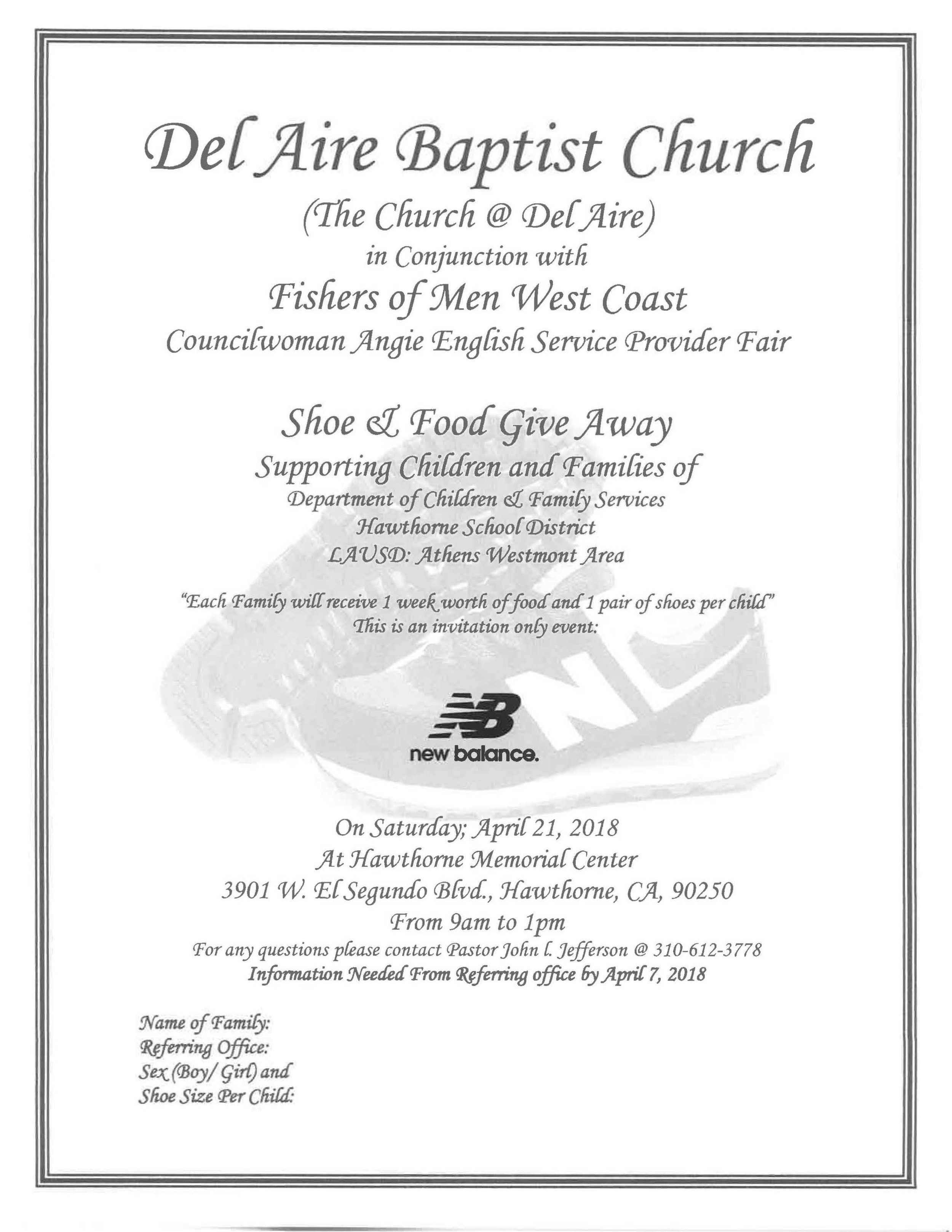 Del Aire Baptist Church Shoe & Food Give Away