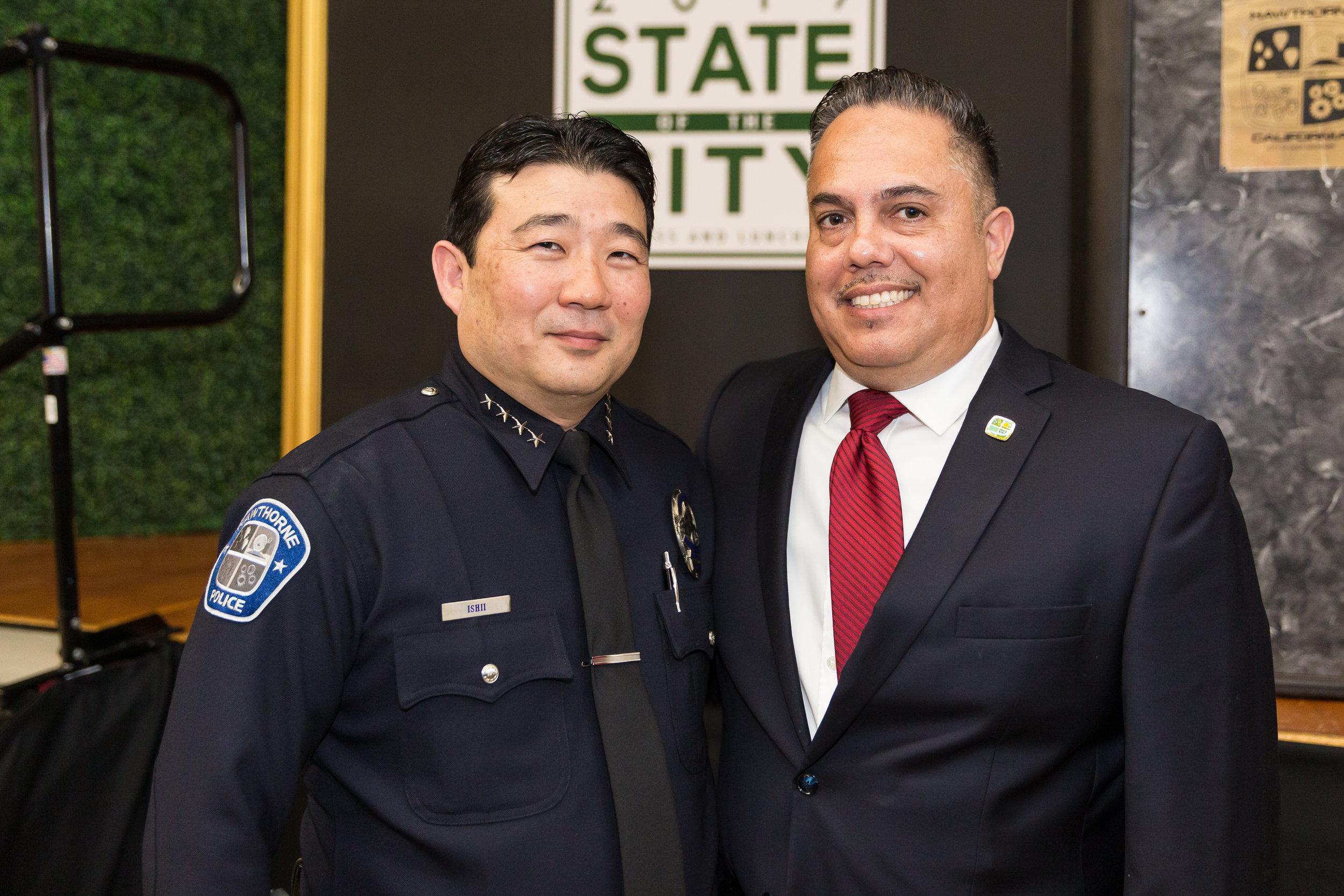 Mayor Vargas with Police Chief Ishii
