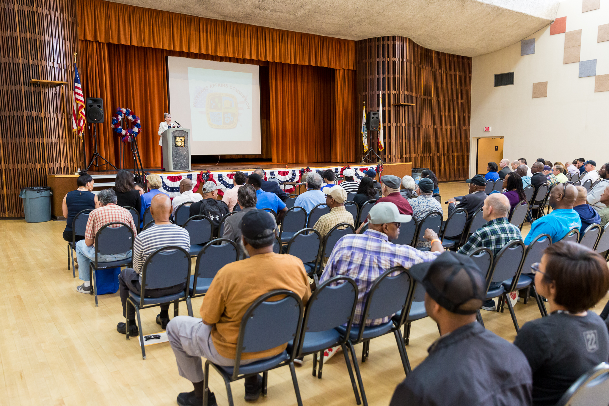 Veterans Affairs Chair Kyle Orlemann addresses gathering
