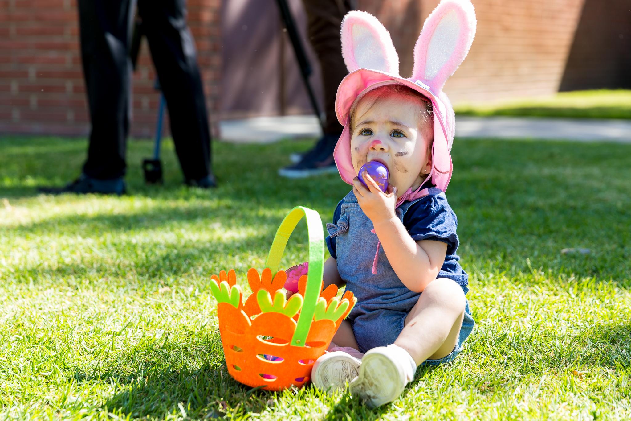 Tasting goodies in the Easter basket