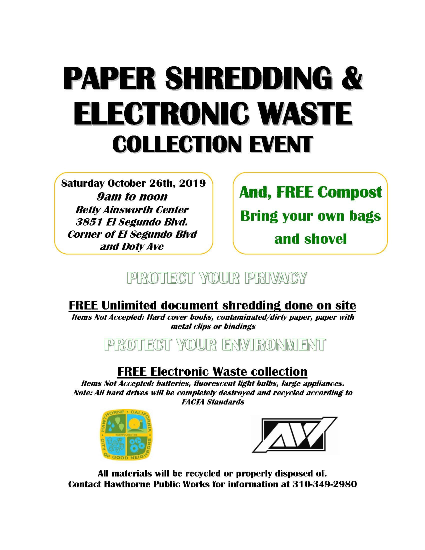 Paper Shredding & EWaste Collection