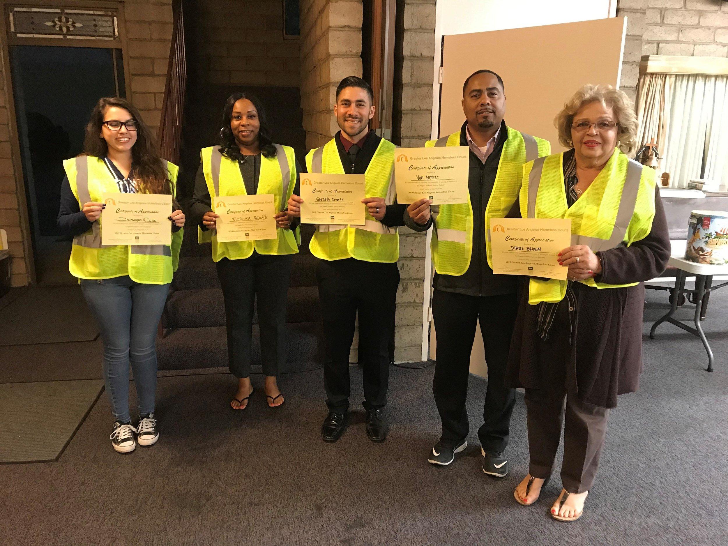 Parks & Rec staff homeless count volunteers