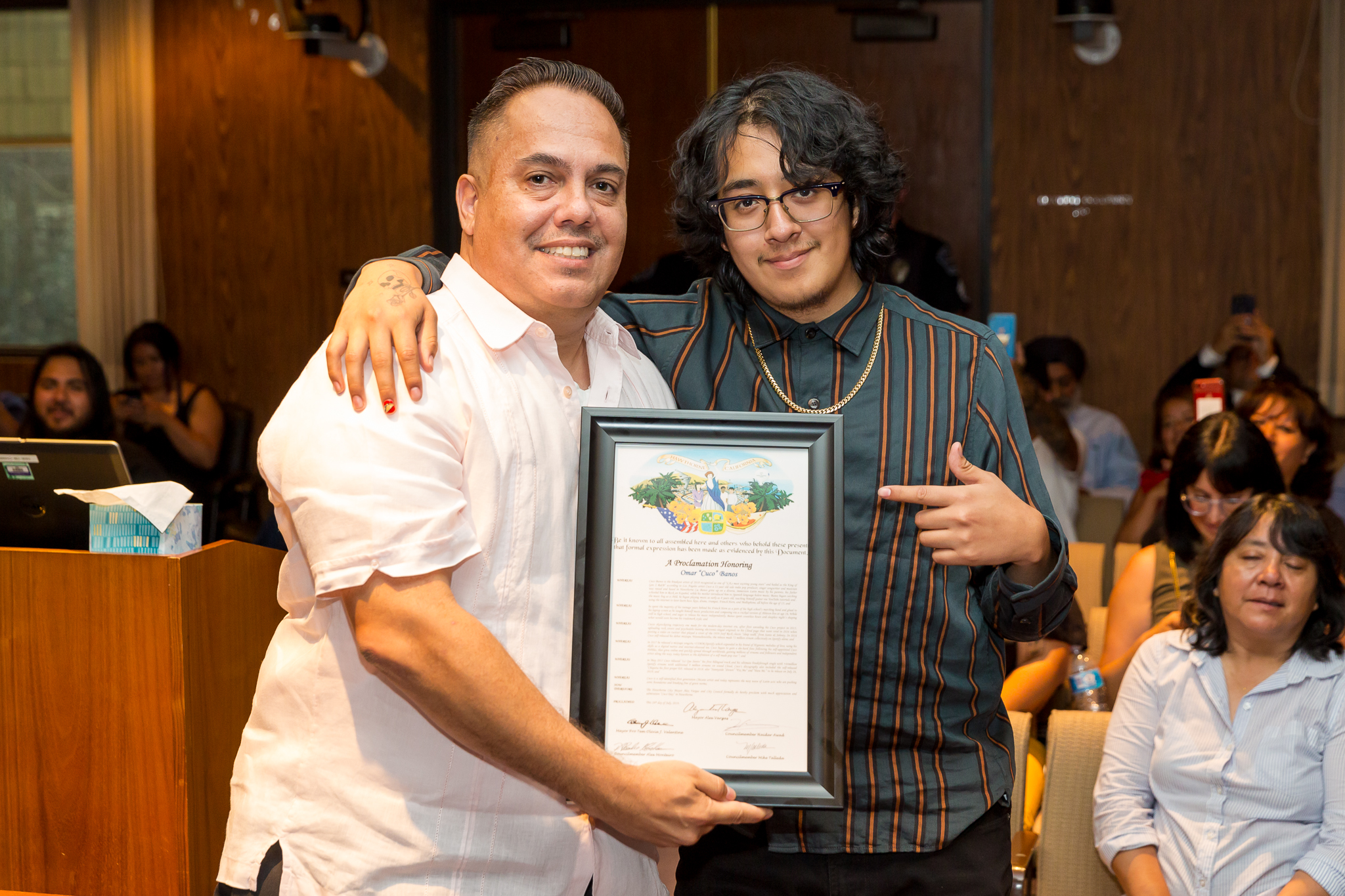 Mayor Vargas and Cuco with Proclamation
