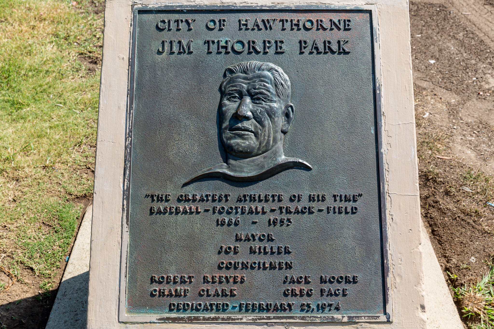 Jim Thorpe Park plaque