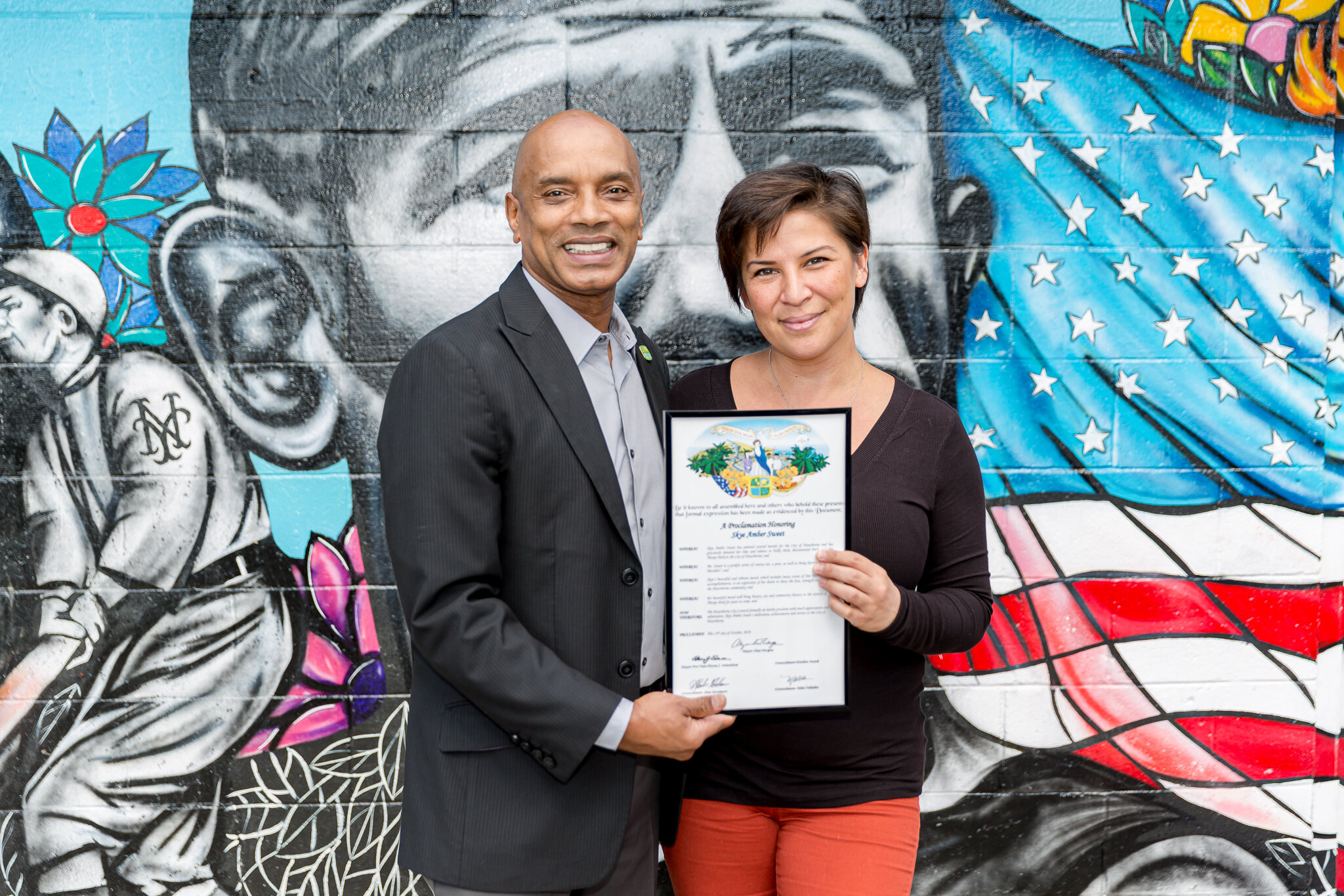 Council Member Alex Monteiro and Artist Skye Amber Sweet