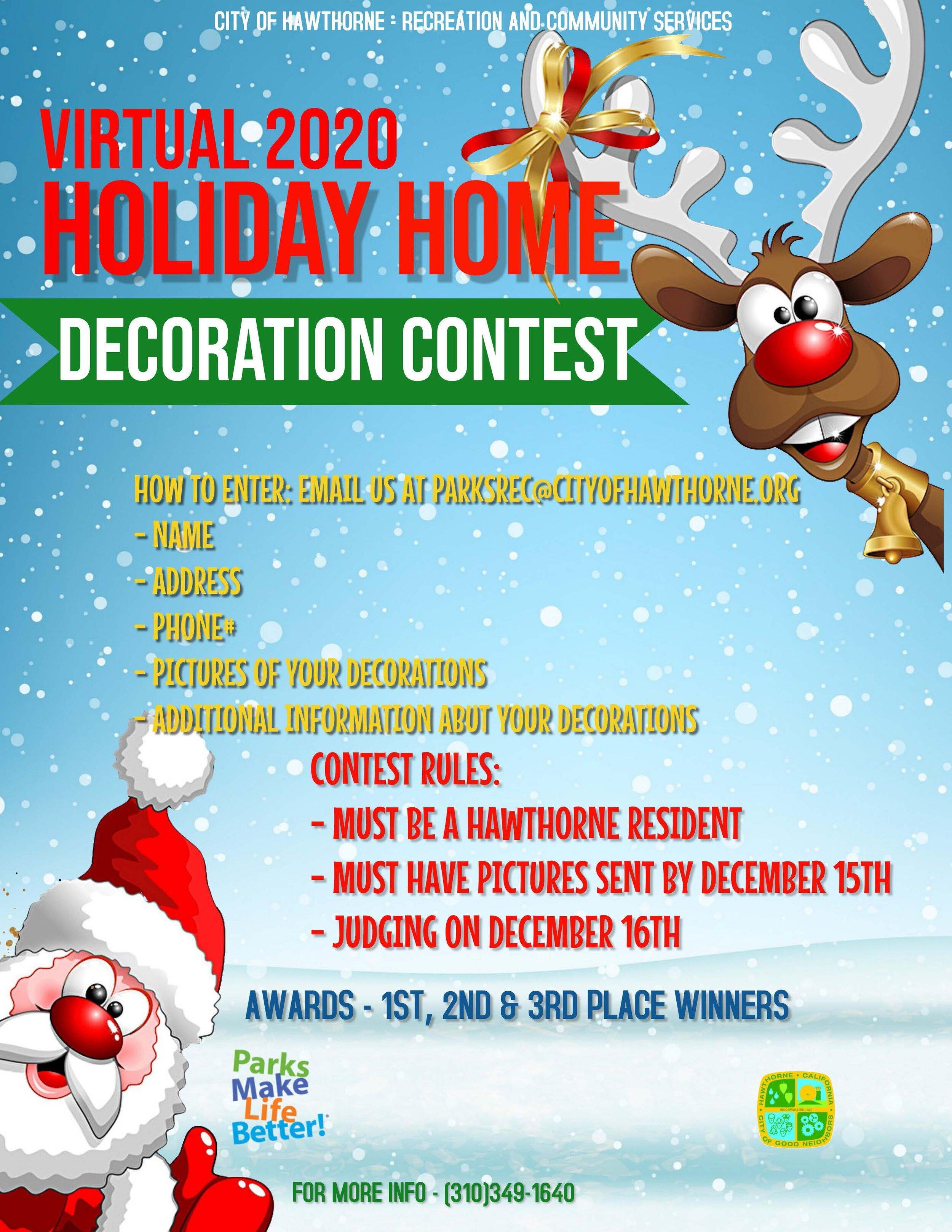 Virtual Holiday Home Decoration Contest Hawthorne California