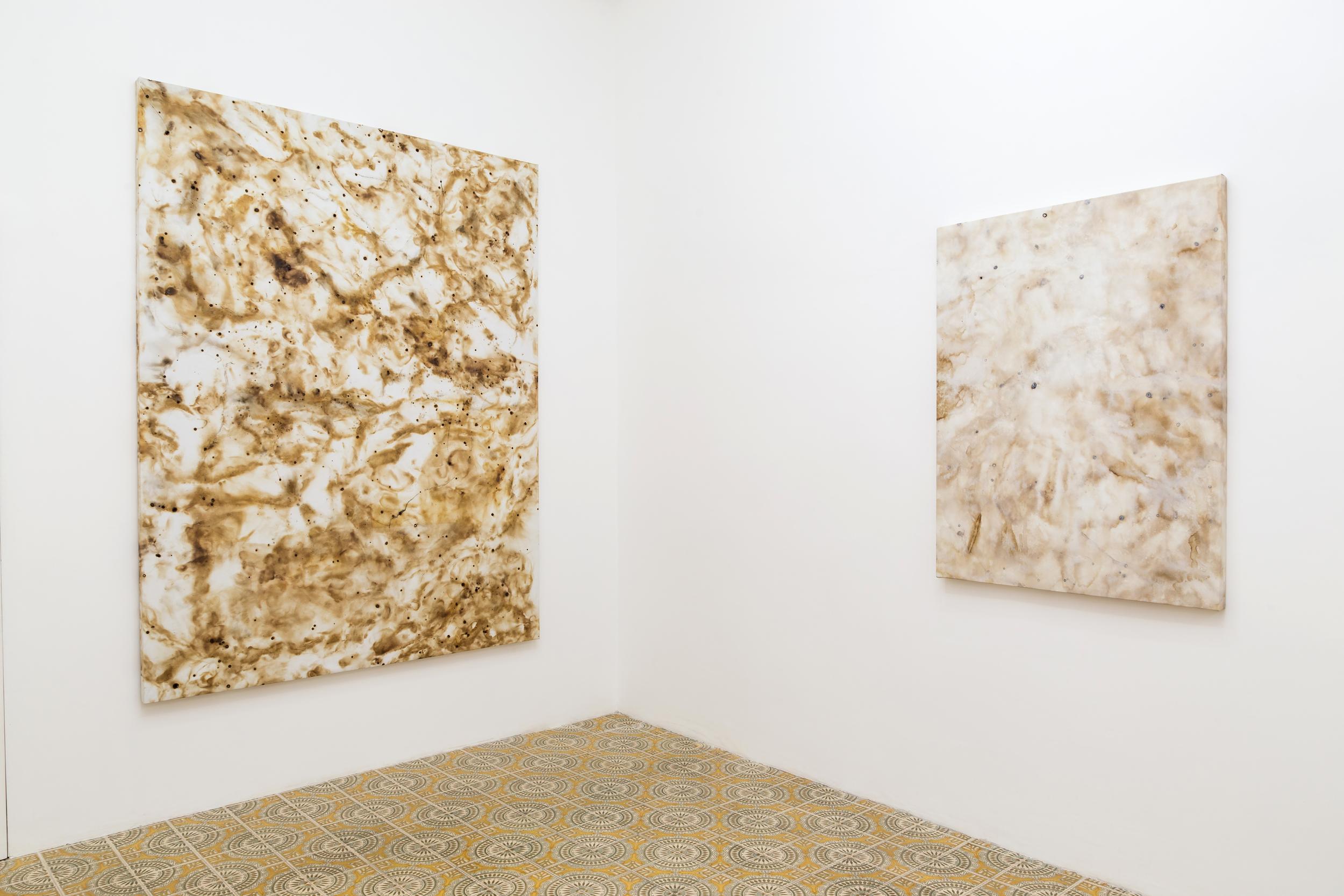 Flare Painting #91 (Sulle Gradinate, Scoppia L'Inferno), & Flare Painting #97 (Sulle Gradinate, Scoppia L'Inferno), 2015  Installation shot for Domenica at Galleria Acappella. Naples, Italy