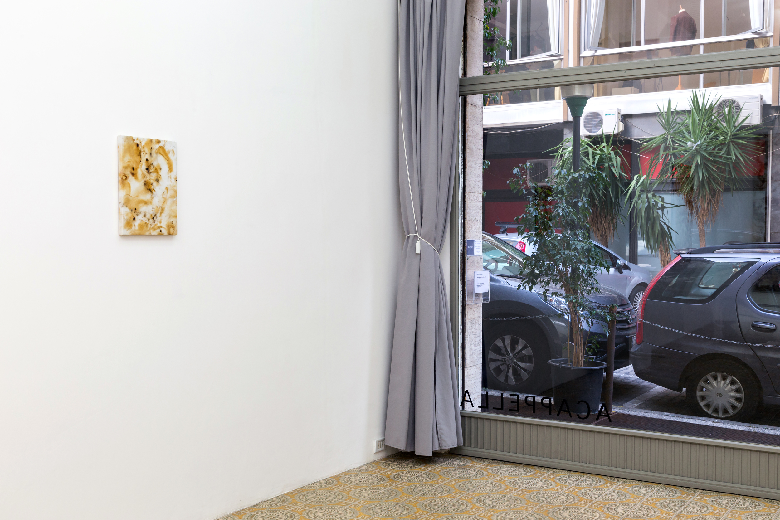 Flare Painting #73 (Sulle Gradinate, Scoppia L'Inferno), 2015  Installation shot for Domenica at Galleria Acappella. Naples, Italy