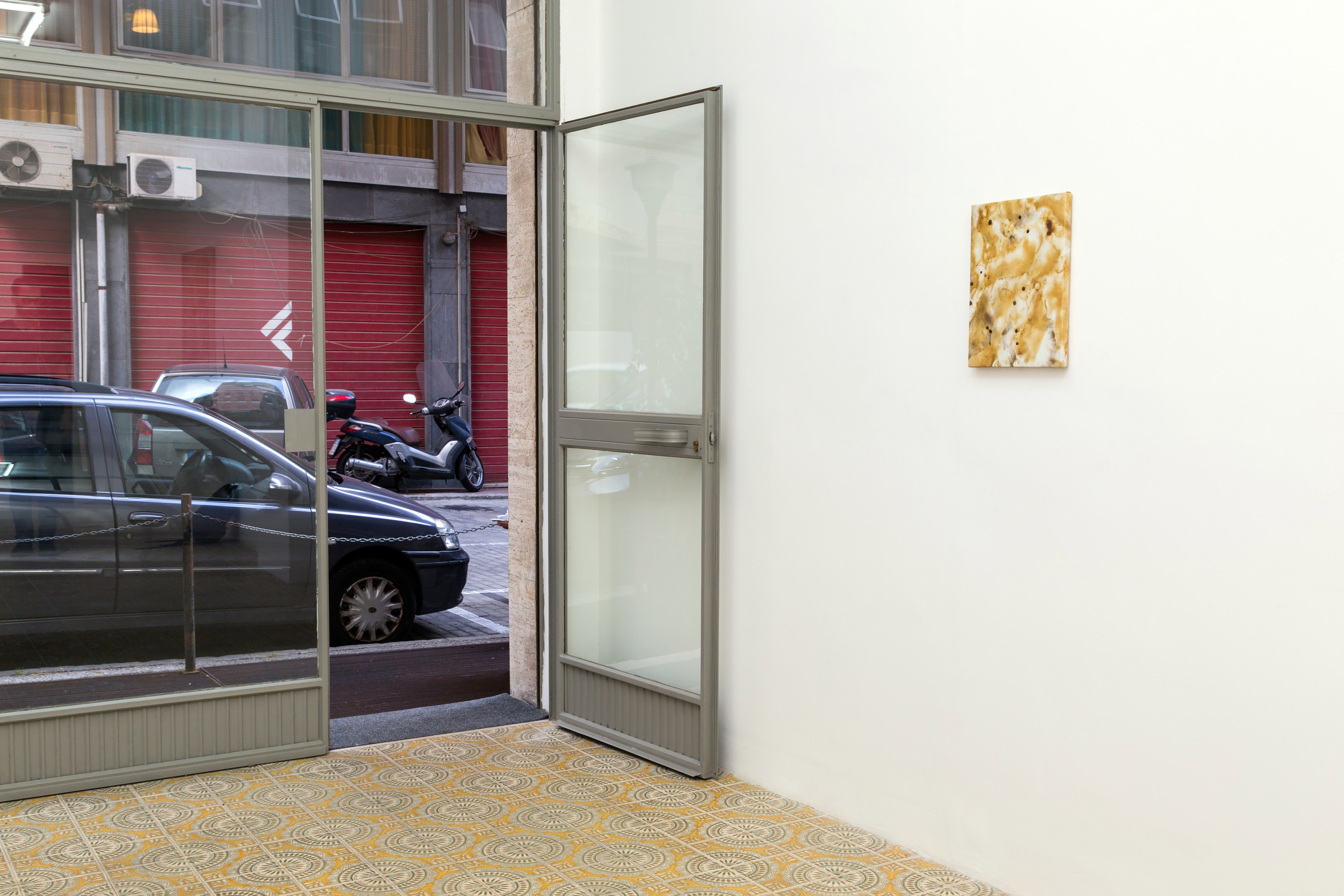 Flare Painting #72 (Sulle Gradinate, Scoppia L'Inferno), 2015  Installation shot for Domenica at Galleria Acappella. Naples, Italy
