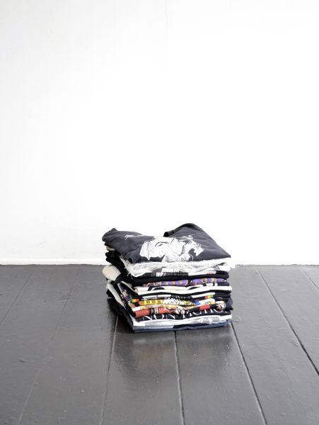 Say Your Prayers   2019  Enamel Paint and Dirt on Cloth, Cotton T-Shirts  Dimensions Variable