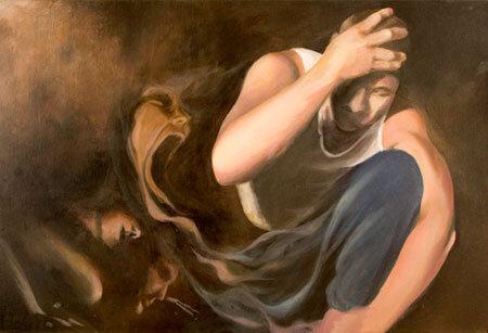 Amber Osterhout的一幅画,描绘了精神分裂症患者的痛苦。
