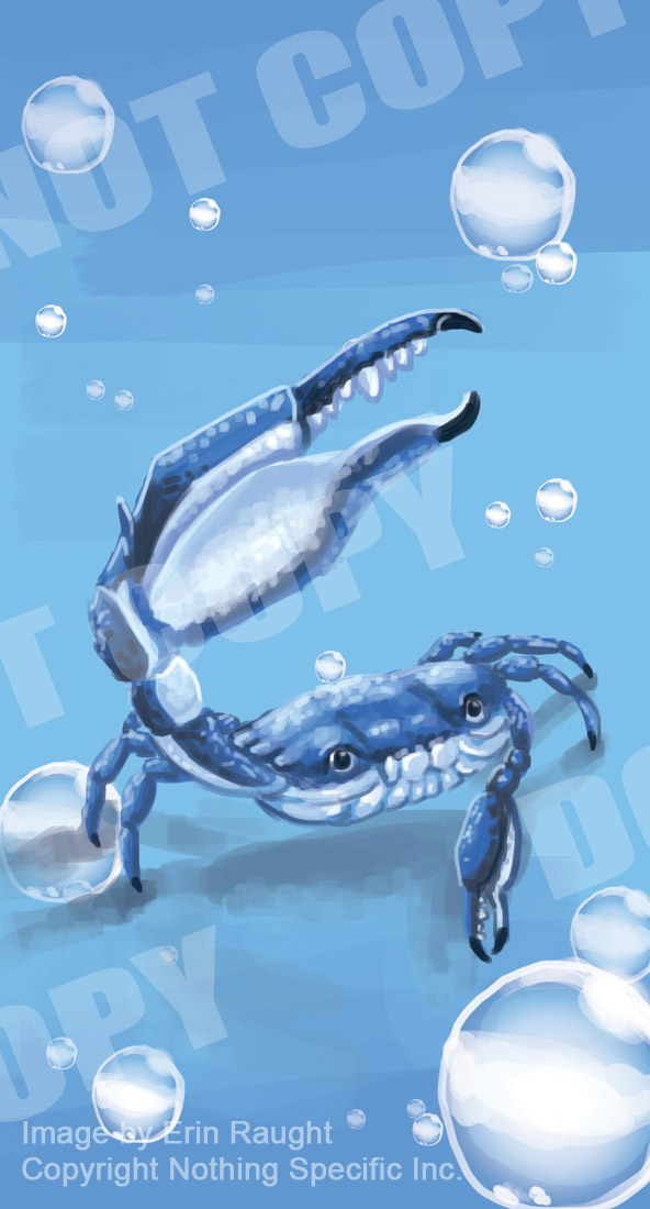 7119 - Crab - Sea Creature - Ocean - Bubbles - Claw - Blue.jpg