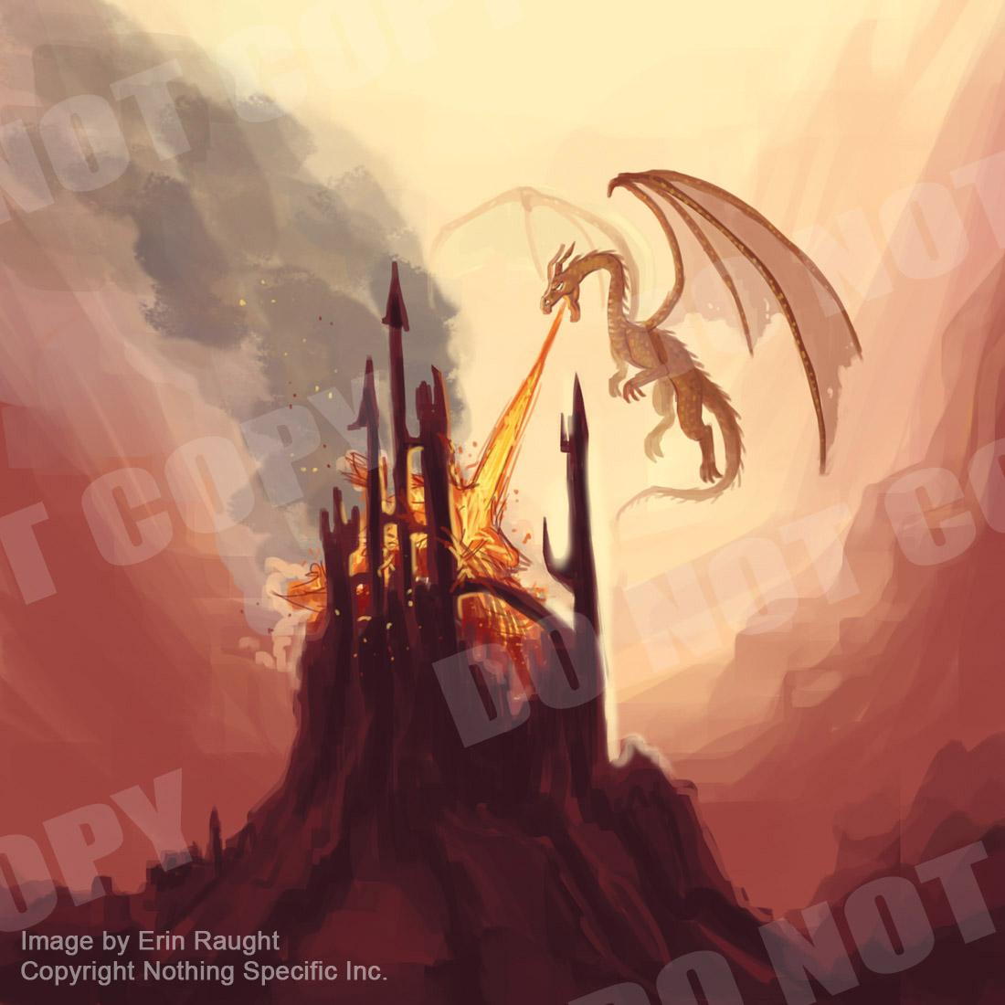 7134 - Dragon Breathing Fire - Castle - Ruins - Fantasy - Medieval.jpg