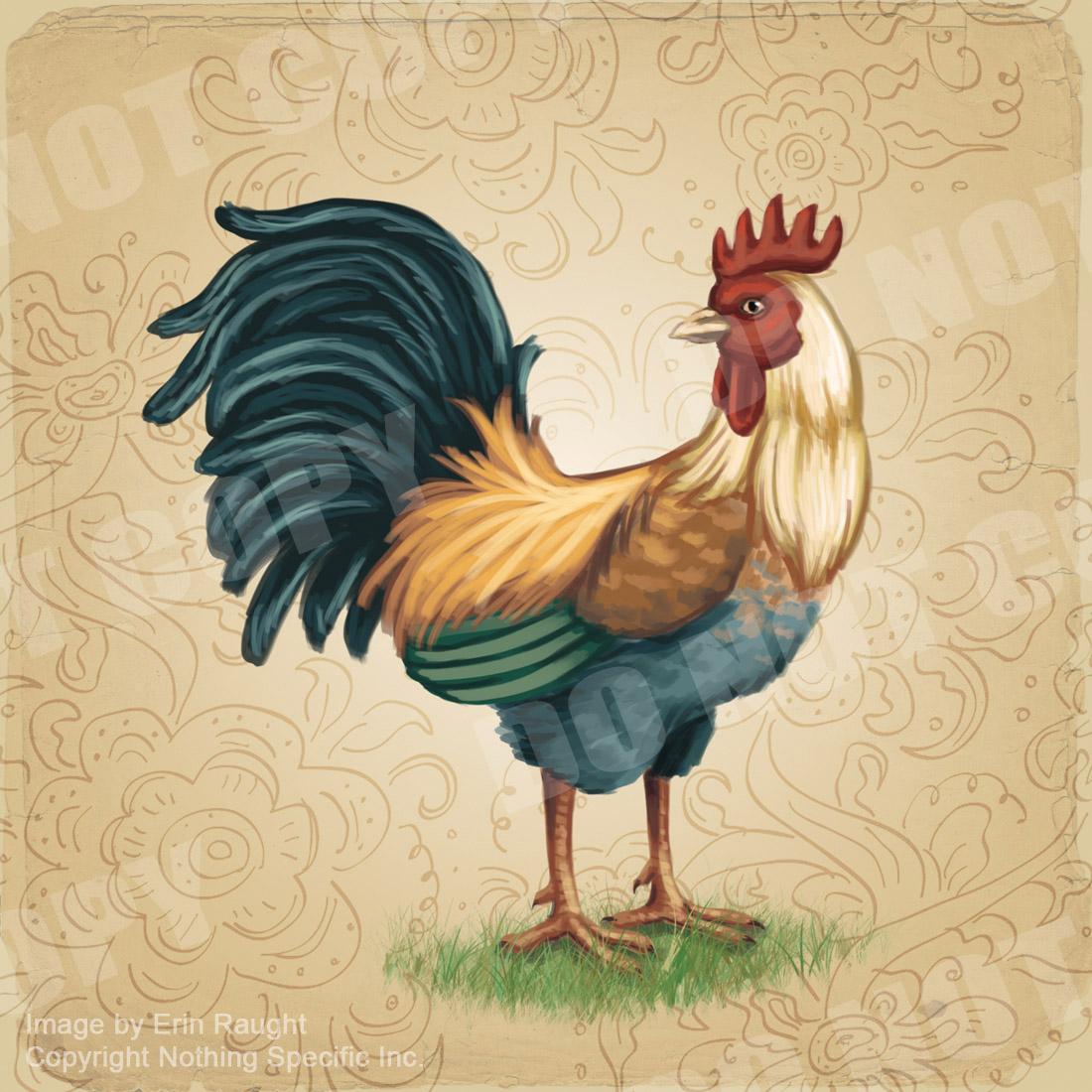 7414 - Vintage Rooster on Floral Background - Chicken Farm Animal Bird.jpg