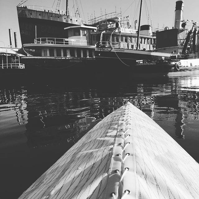 Bit intimidating up close #kayak #harbour #sydney #woodenboat