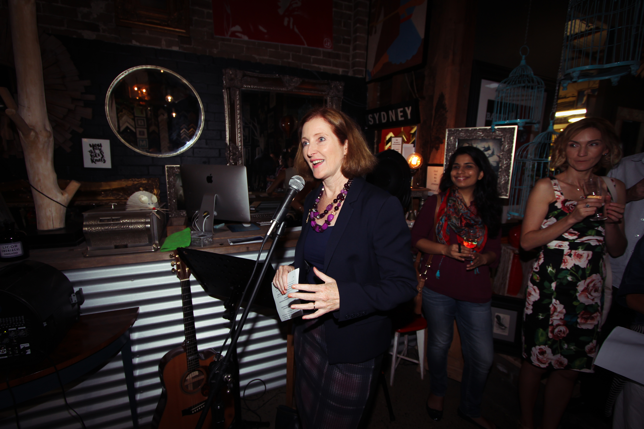 """The Willoughby Mayor, Gail Giles-Gidney opening """"Drawings on Water""""."""