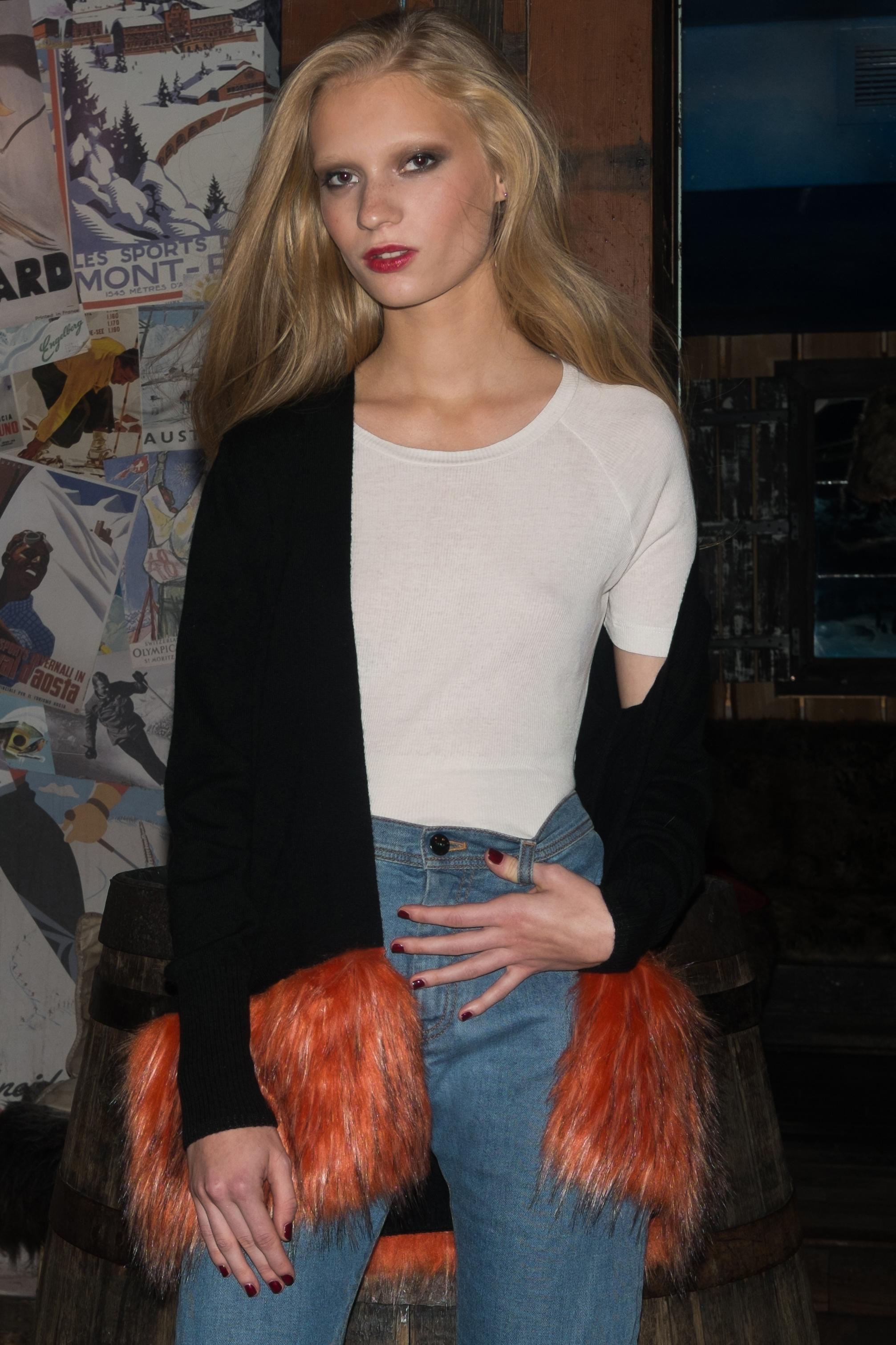 Black Cardigan with Orange Faux Fur Trim.jpg