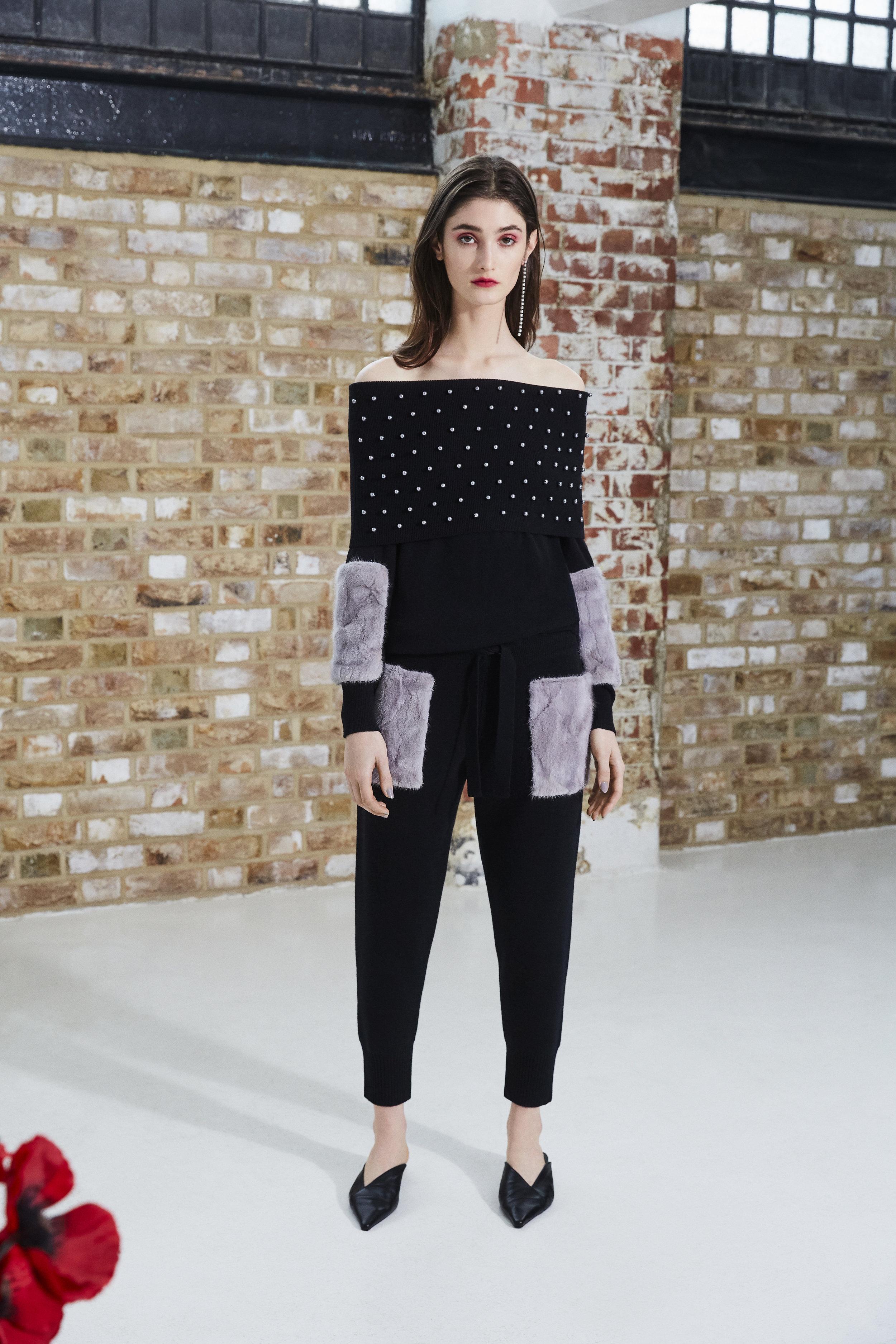 Black Pearl Off Shoulder Sweater & Black Pocket Pants Set.jpg