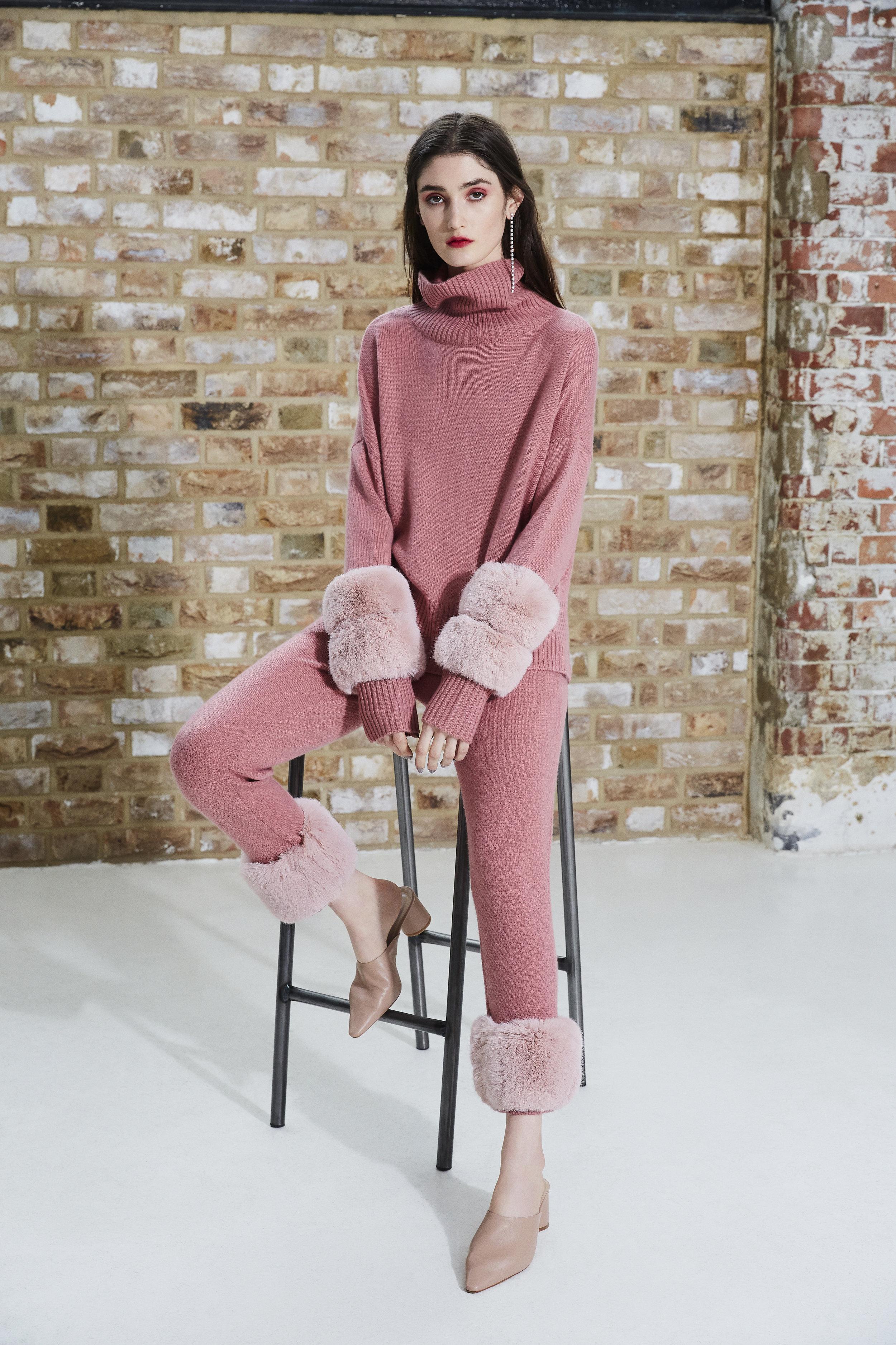Pink Cropped Polo Neck Sweater & Pink Faux Trim Pants Set.jpg