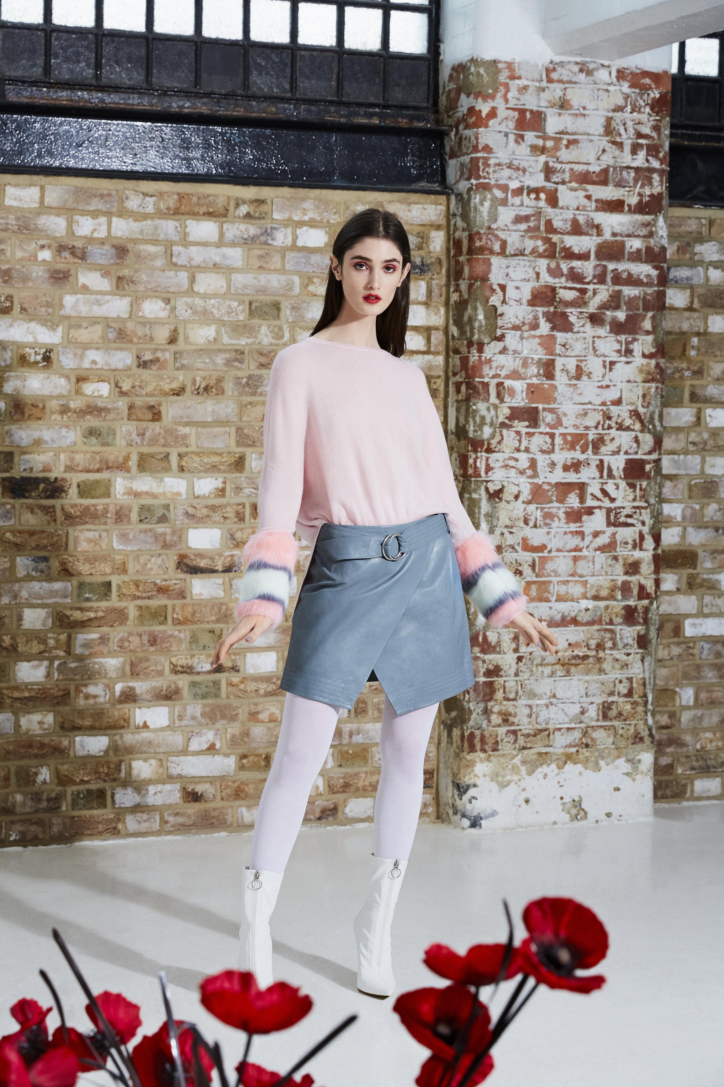 Pink Multi Coloured Faux Cuff Sweater.jpg
