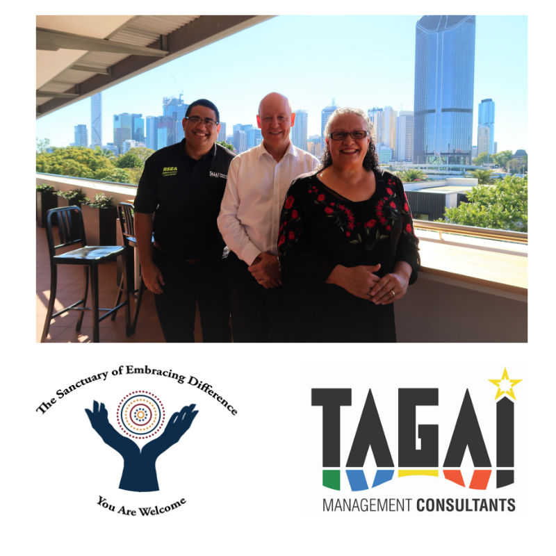 Photo:  Murray Saylor  (Managing Director - Tagai Management Consultants) and  Leanne Phillips  (Managing Director - The Sanctuary of Embracing Difference) meeting with Bill Delves (CEO - South bank Corporation).