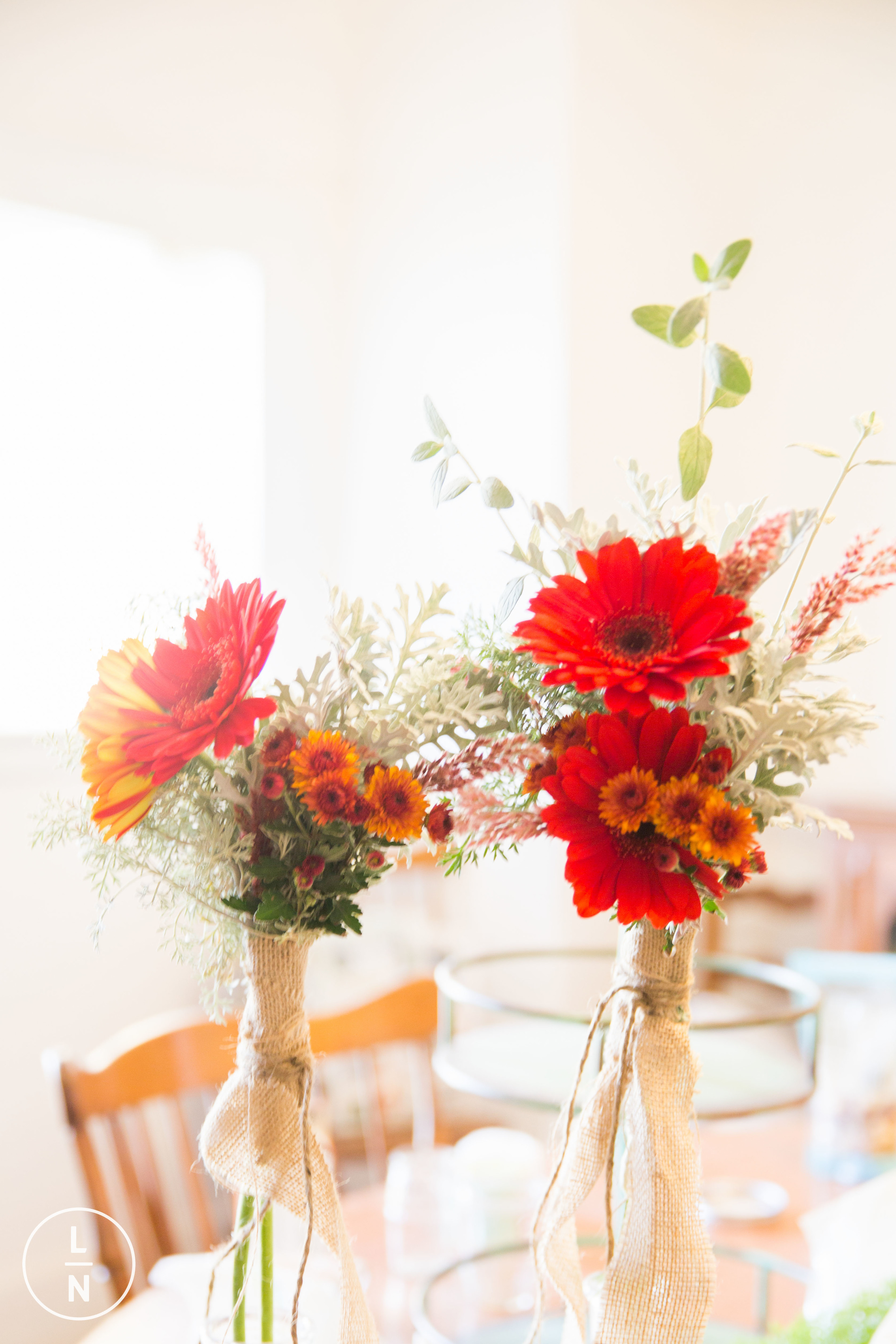 Brides' bouquets.