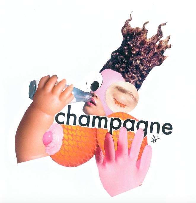 """JE MOEDER'Champagne knallers' - Voor JE MOEDER, een platform dat alle verhalen van alle soorten moeder deelt, maakte ik deze begeleidende collage illustratie bij het verhaal van Josephine: """"Mijn boobs stonden zó op ontploffen, dat ik me tijdens de volgende proefsessie met een meegesmokkeld champagneglas naar de wc begaf..."""" Heerlijke, eerlijke, herkenbare en hilarische verhalen van JE MOEDER.jemoeder.amsterdam"""