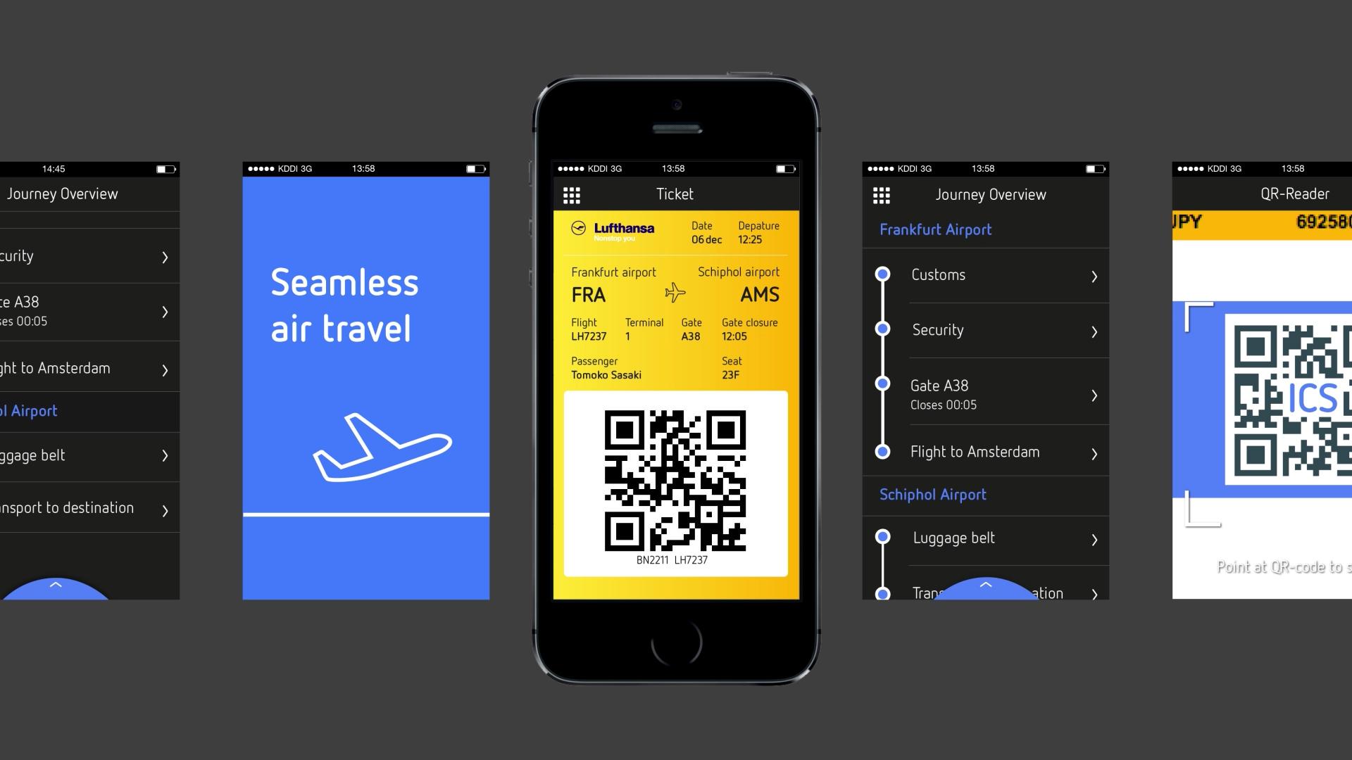 Seamless Air Travel  - Animatie om het concept van de 'One App' duidelijk te maken: een app waarmee reizigers binnen Europa van deur tot deur begeleid worden.