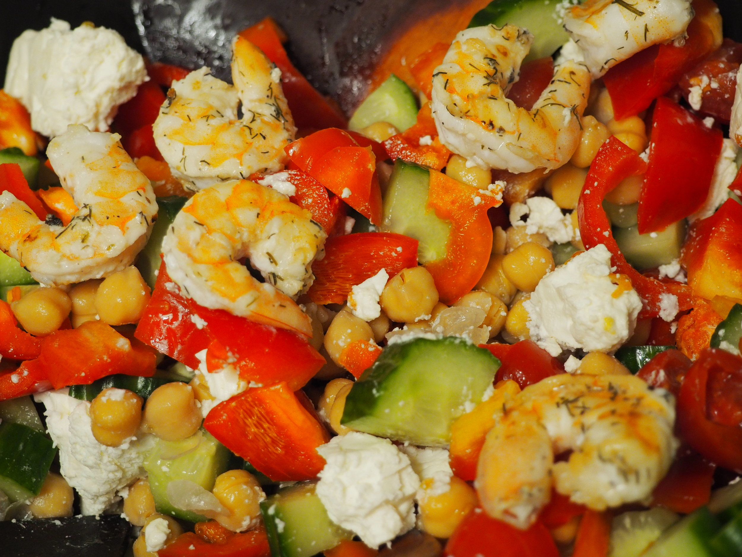Mediterranean Shrimp Salad with Grilled Bread -